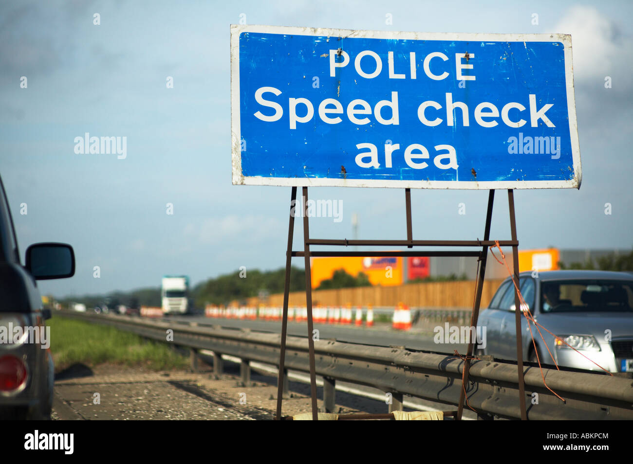 Police Speed Check Area sign on motorway in England UK - Stock Image