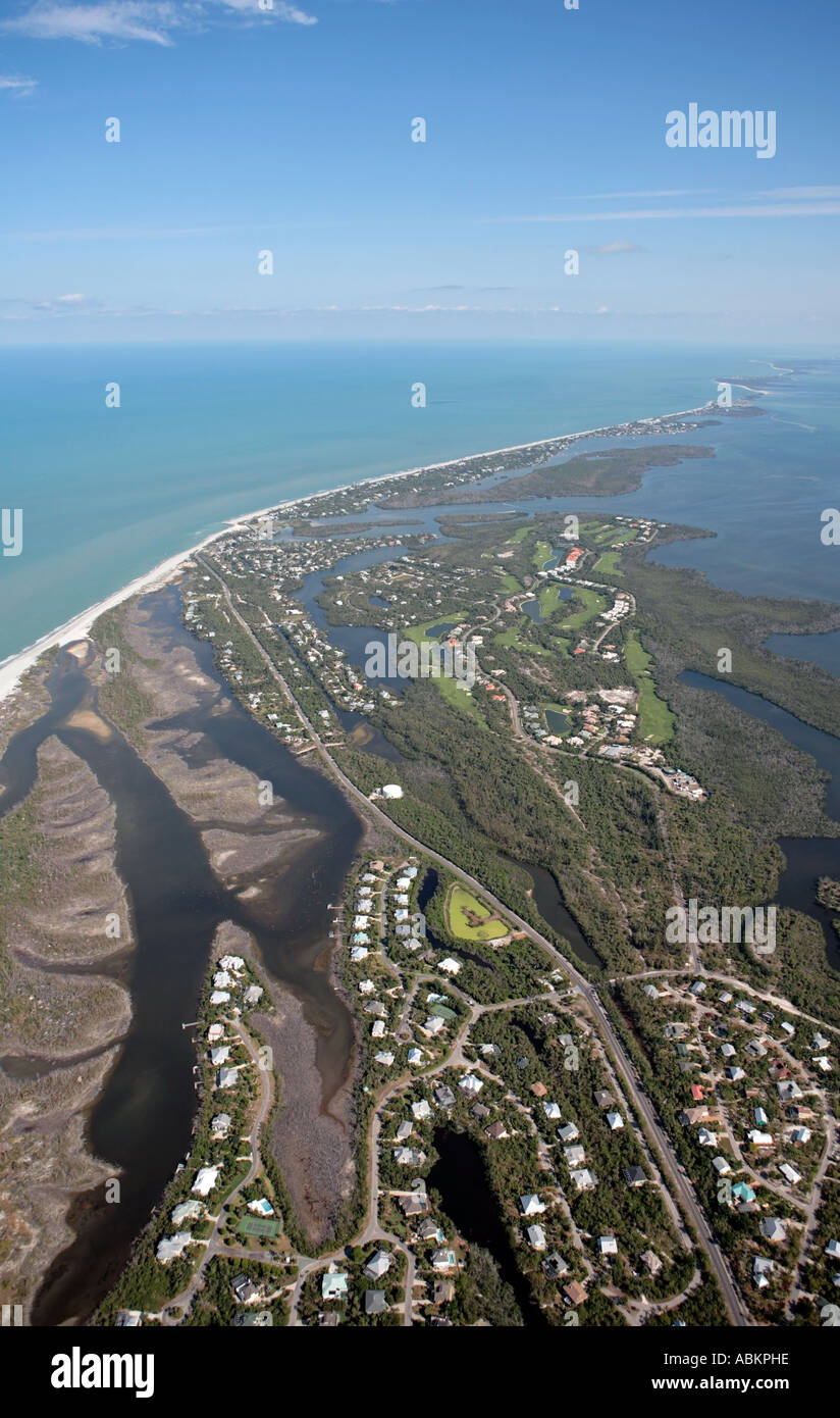 Aerial photo of Sanibel Island, Silver Key, Wulfert key, Albright key, Runyan Key, Buck Key, Captiva Island, Kesson Stock Photo