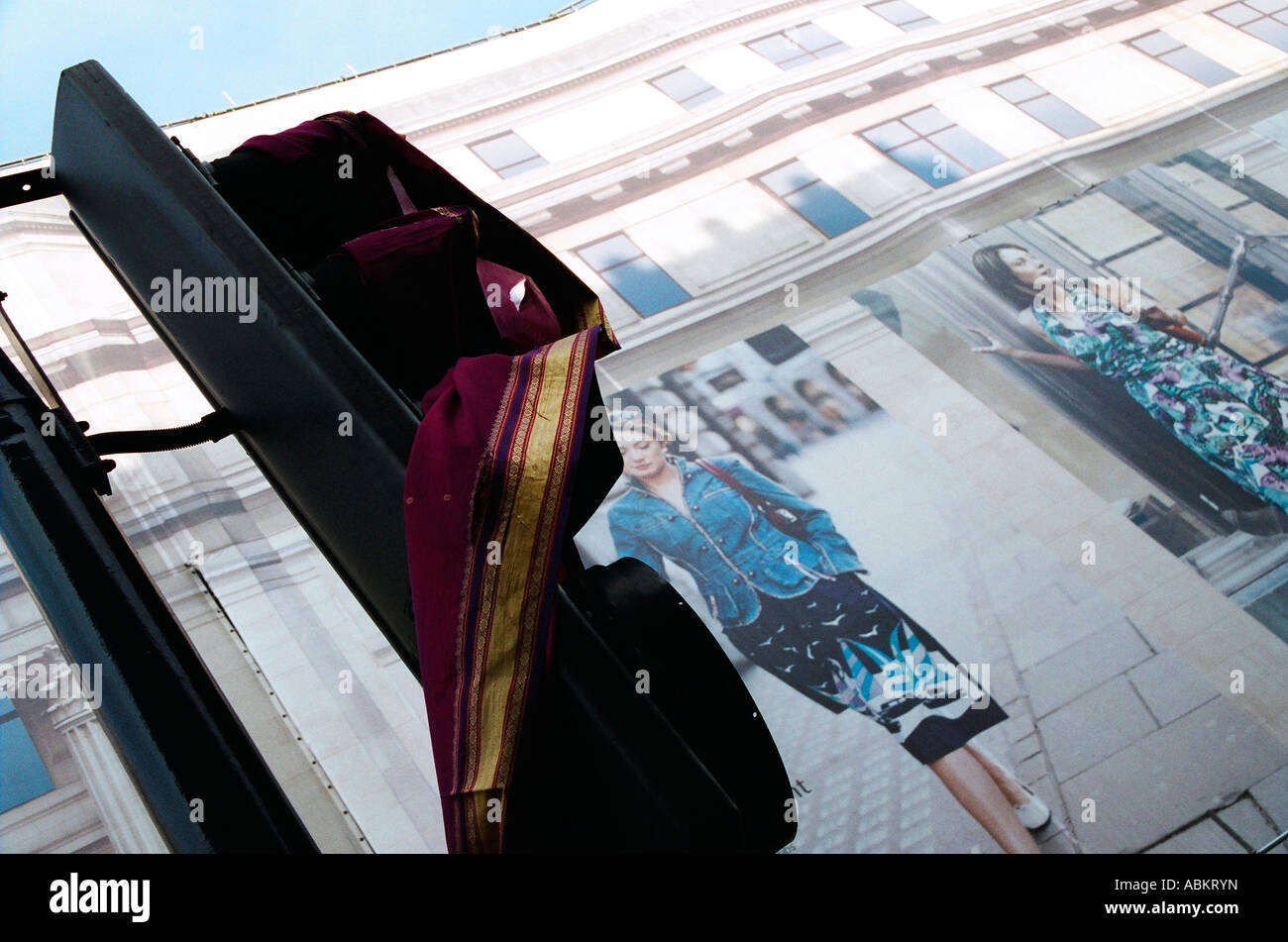 Saree draped over traffic light at the Regent Street Festival - Stock Image
