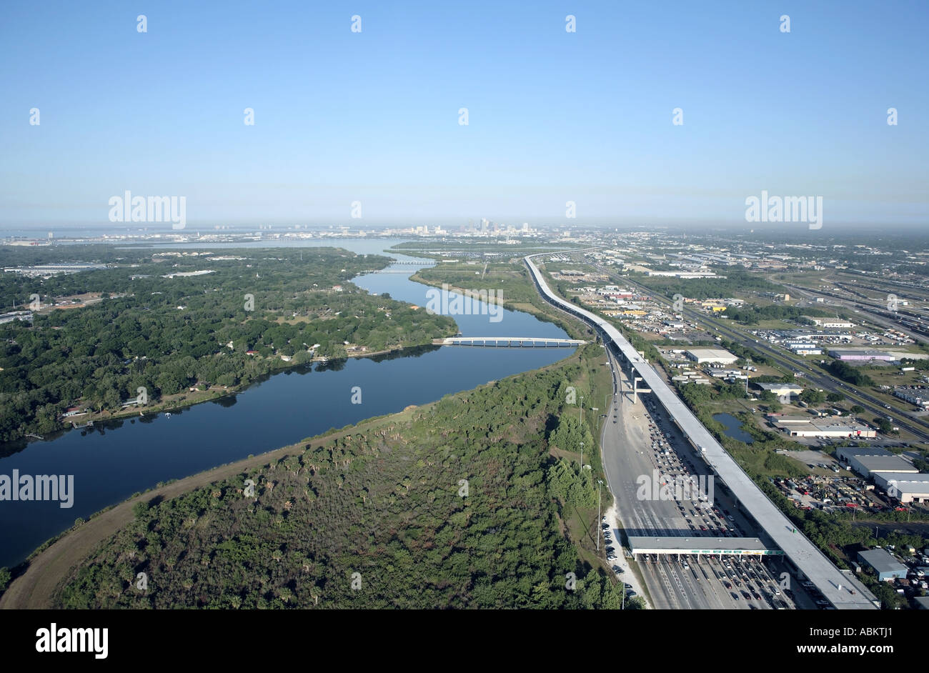 Aerial photo of Tampa skyline crosstown express highway McKay Bay view from Tampa Bypass Canal Florida - Stock Image