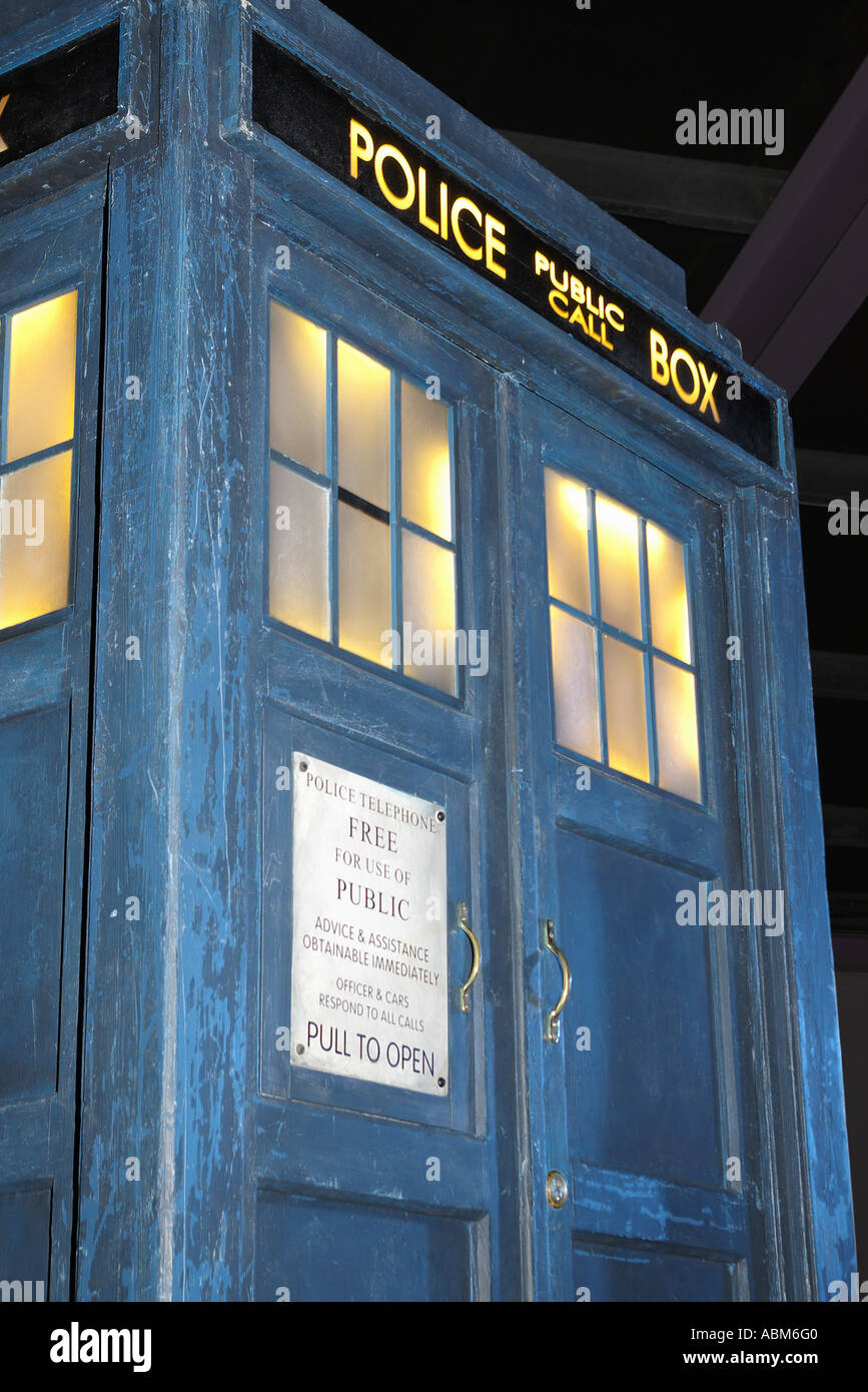 Tardis Dr Who TV Series BBC Wales Roadshow Anglesey North West Wales - Stock Image