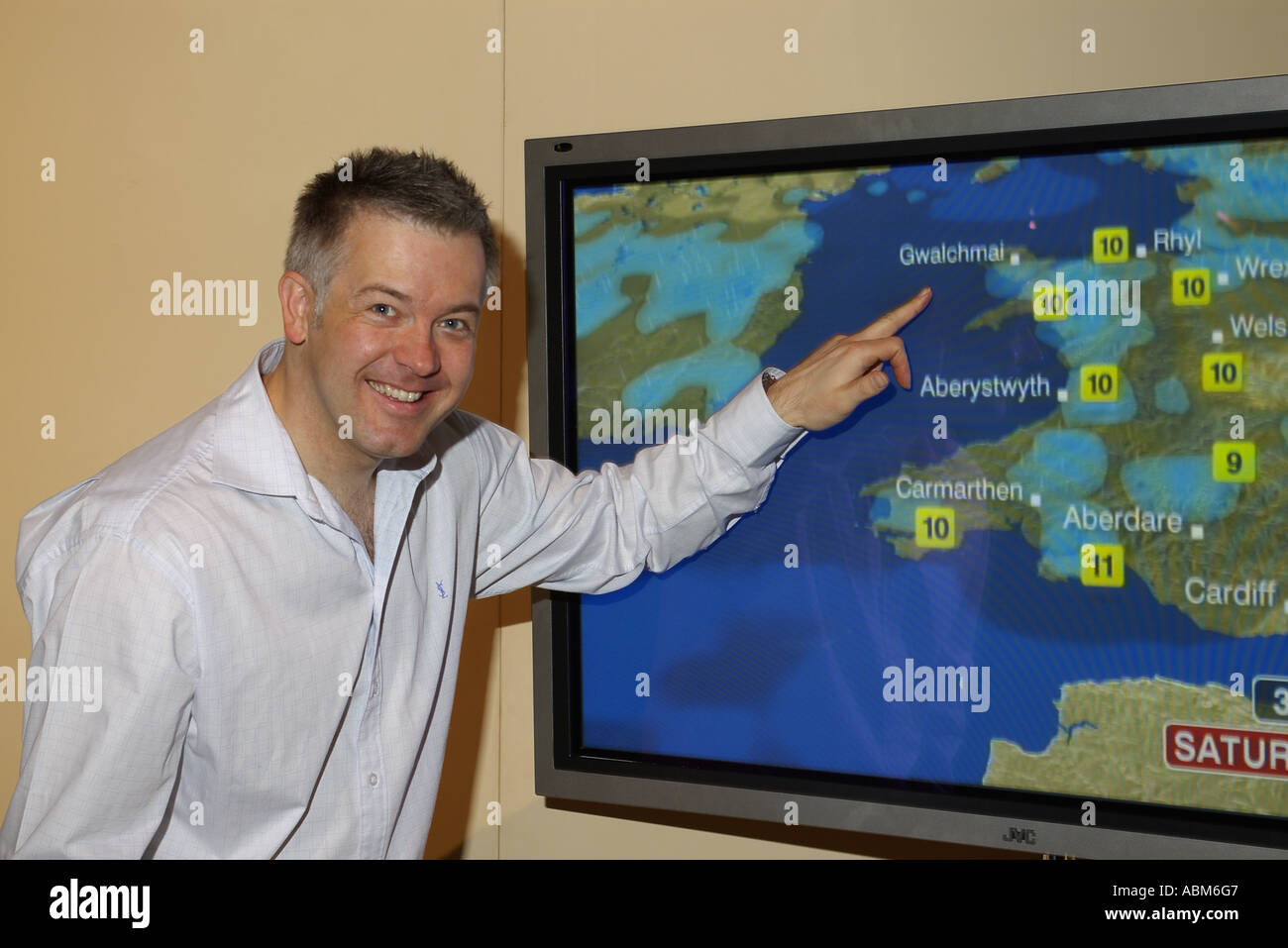 Derek Brockway Weather Presenter BBC Wales Roadshow Anglesey North West Wales - Stock Image