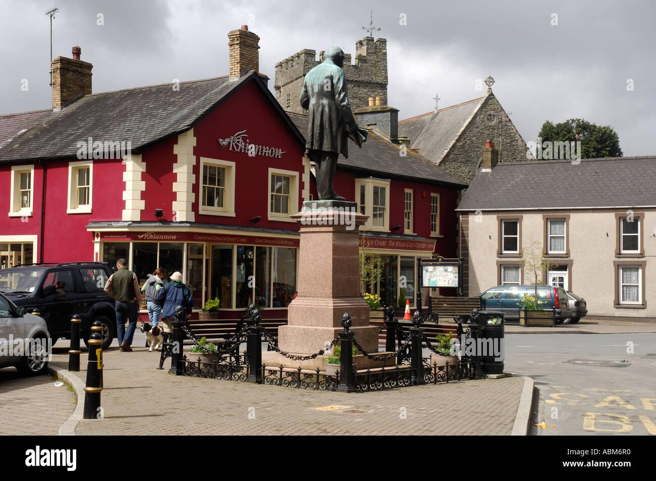 Statue Town Centre Tregaron Ceredigion West Wales Stock Photo