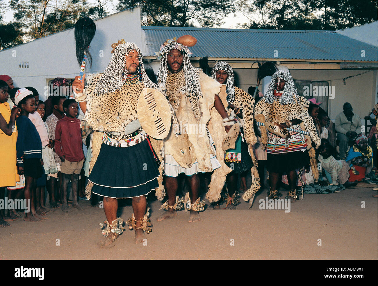 Sangoma chiefs at dance ceremony Natal South Africa They are