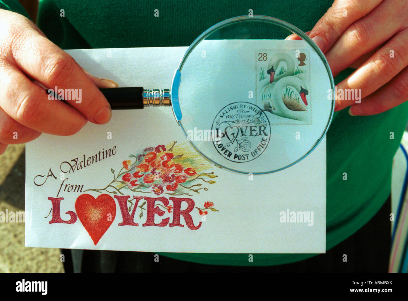 A valentines day card stamped with the Lover postmark - Stock Image