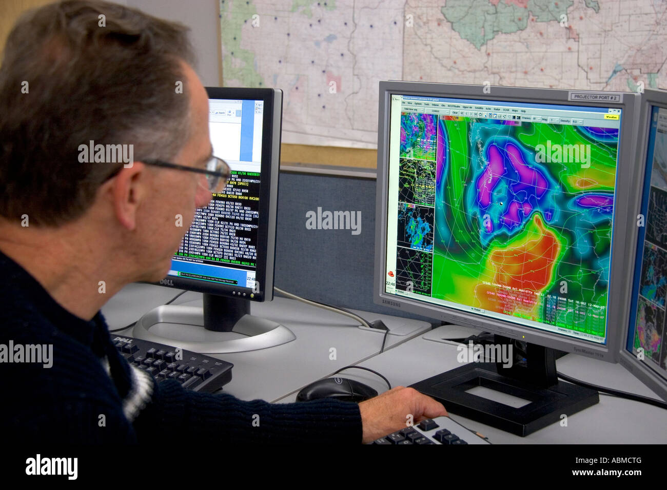 Boise Weather Map.Meteorologist Looking At Weather Maps From Satellite Data On