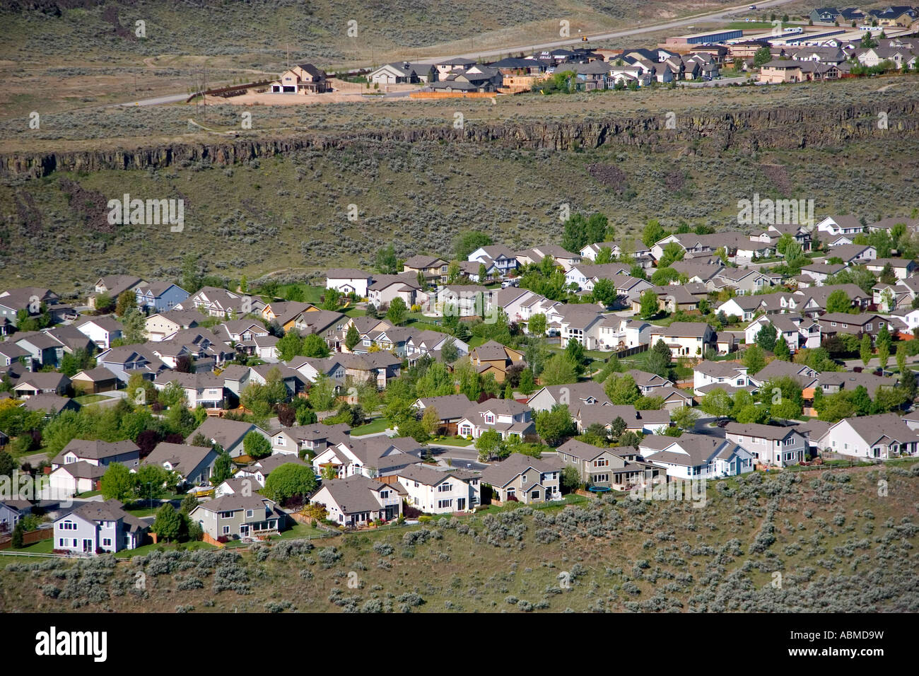 Aerial view of a housing subdivision created by urban sprawl in Boise Idaho - Stock Image