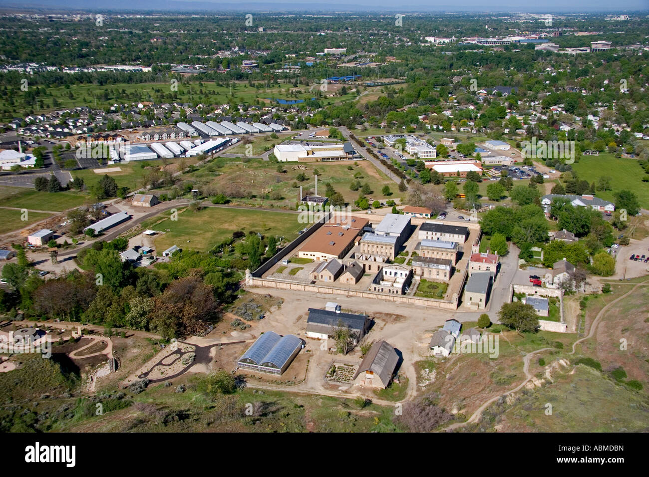 Aerial view of the Old Idaho Penitentiary in Boise Idaho - Stock Image