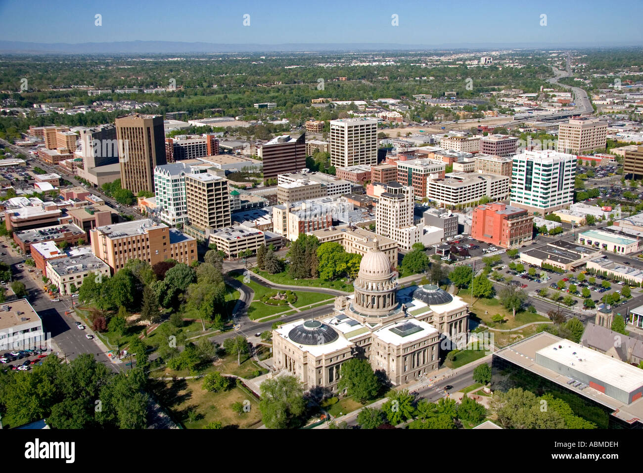 Aerial View Of Downtown Boise And The State Capitol