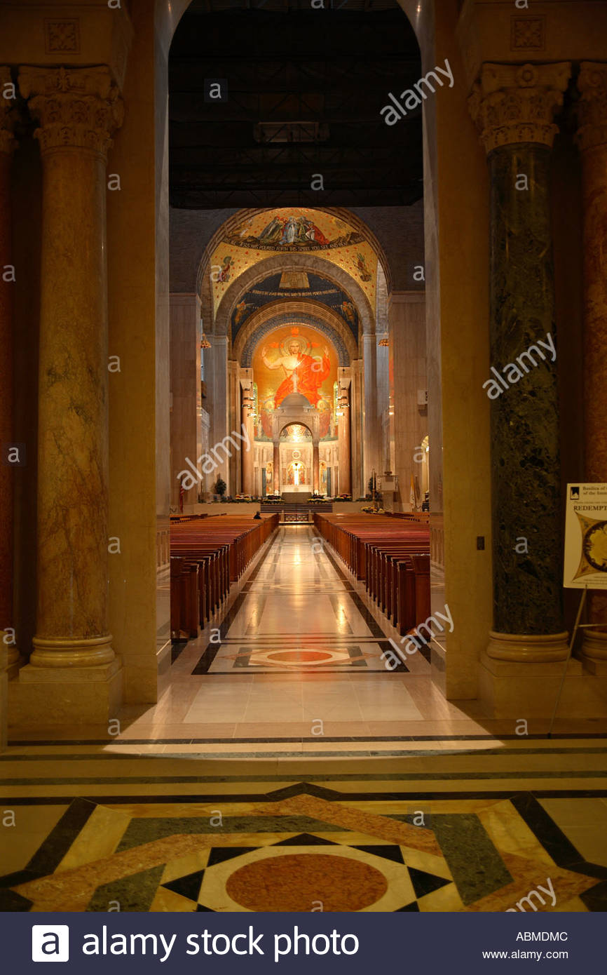 View of the entrance and the Great Upper Church at the National Shrine of the Immaculate Conception in Washington Stock Photo