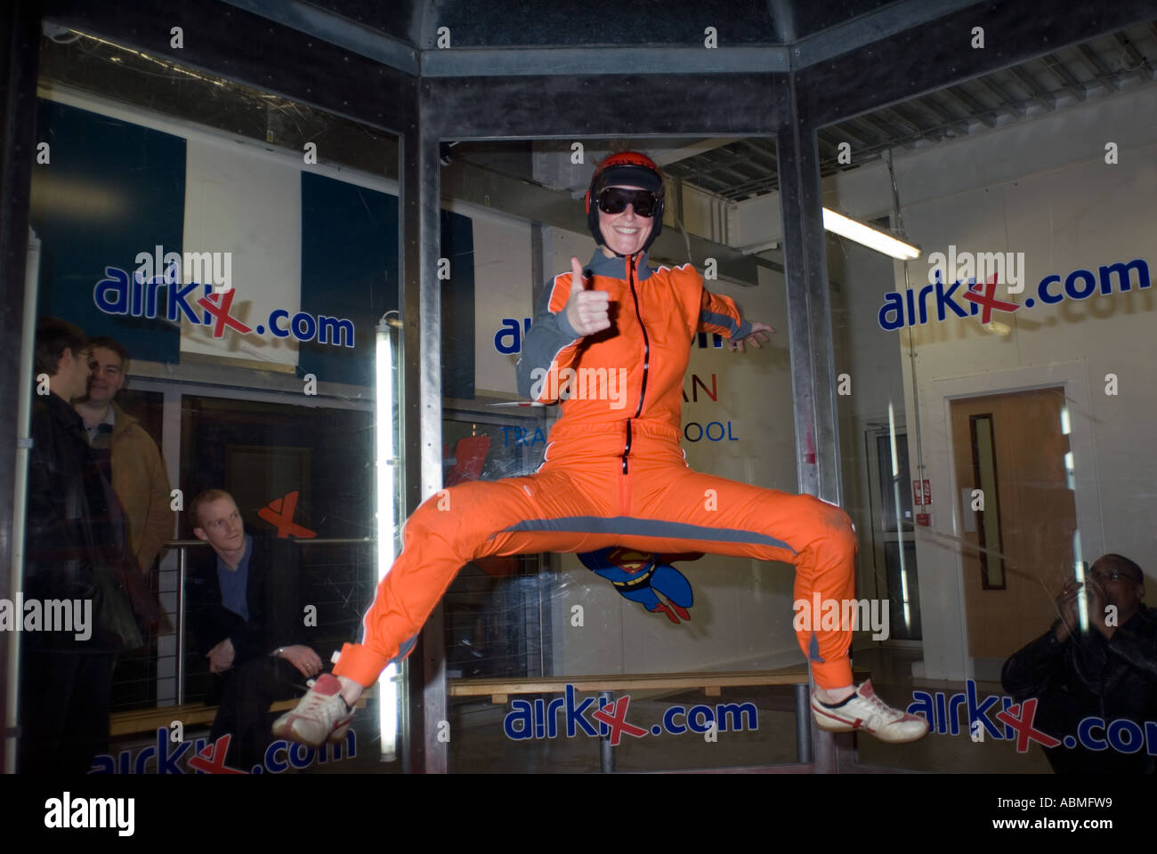 skydiver practising inside AirKix at the Xscape building in Central Milton Keynes, the Centre MK - Stock Image