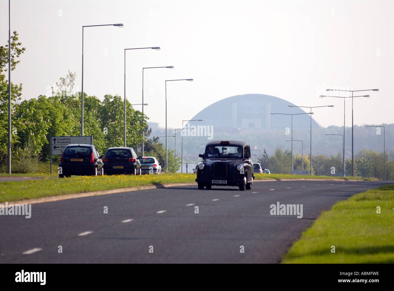 taxi cab Central Milton Keynes road snow dome UK - Stock Image