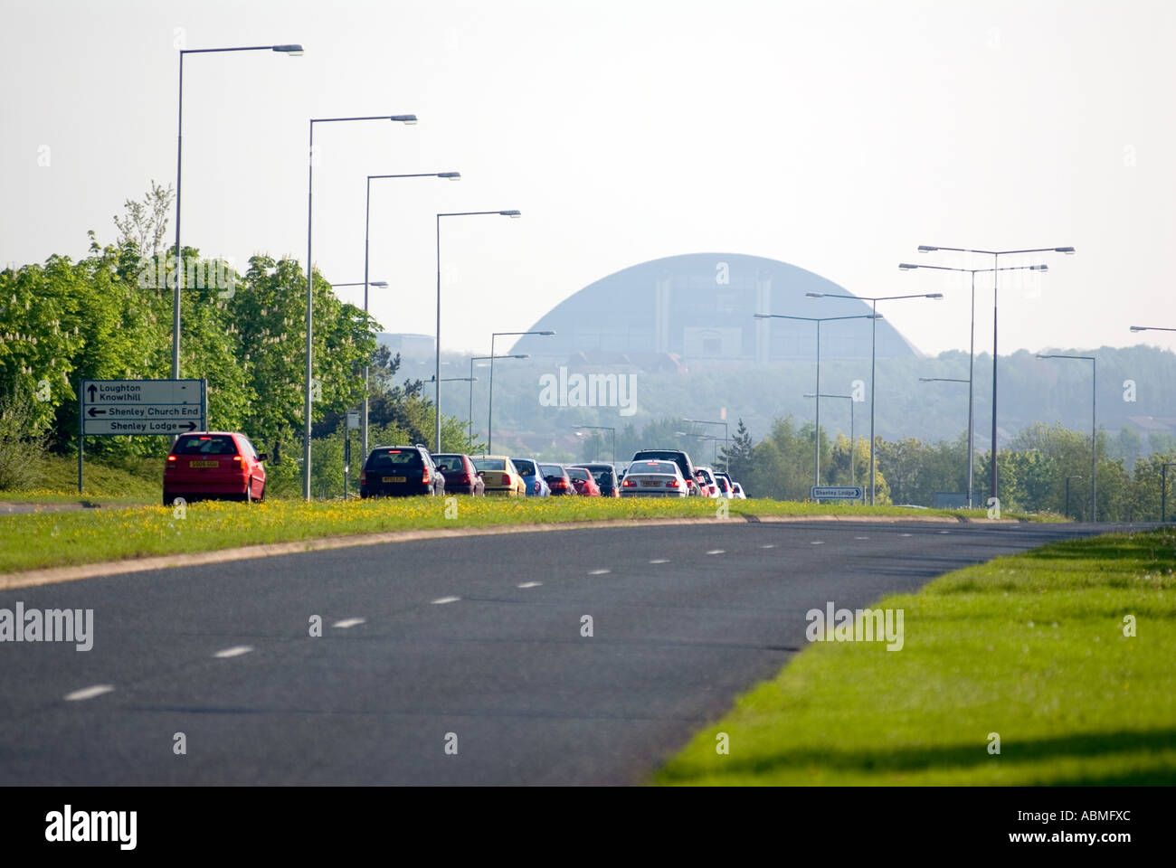 Central Milton Keynes road snow dome UK cars driving Central Milton Keynes, the Centre MK - Stock Image
