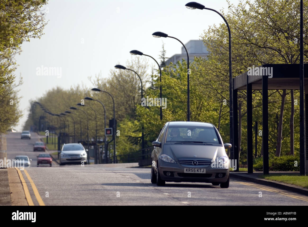 Central Milton Keynes road UK cars driving Central Milton Keynes, the Centre MK - Stock Image