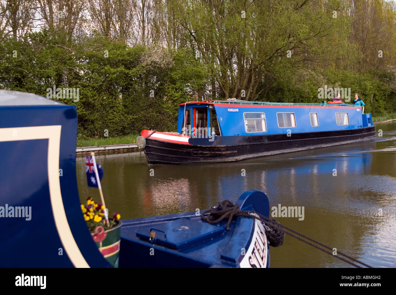 Wyvern Shipping Company narrowboat navigating central Milton Keynes on the Grand Union Canal Nikon D200 - Stock Image