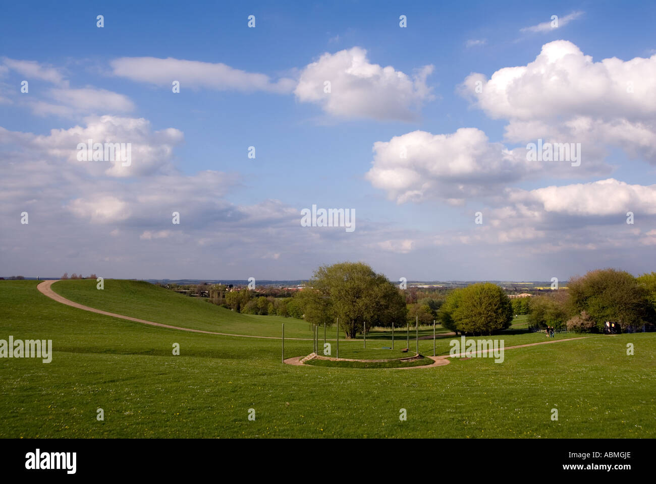 runners running jogging in Campbell Park Central Milton Keynes MK - Stock Image