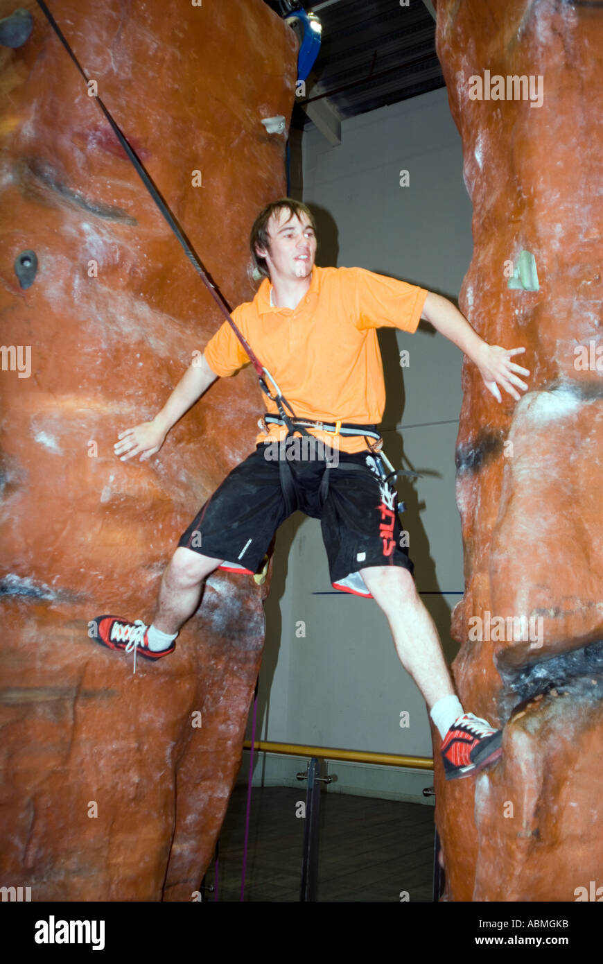 rock climbing in central Milton Keynes - Stock Image