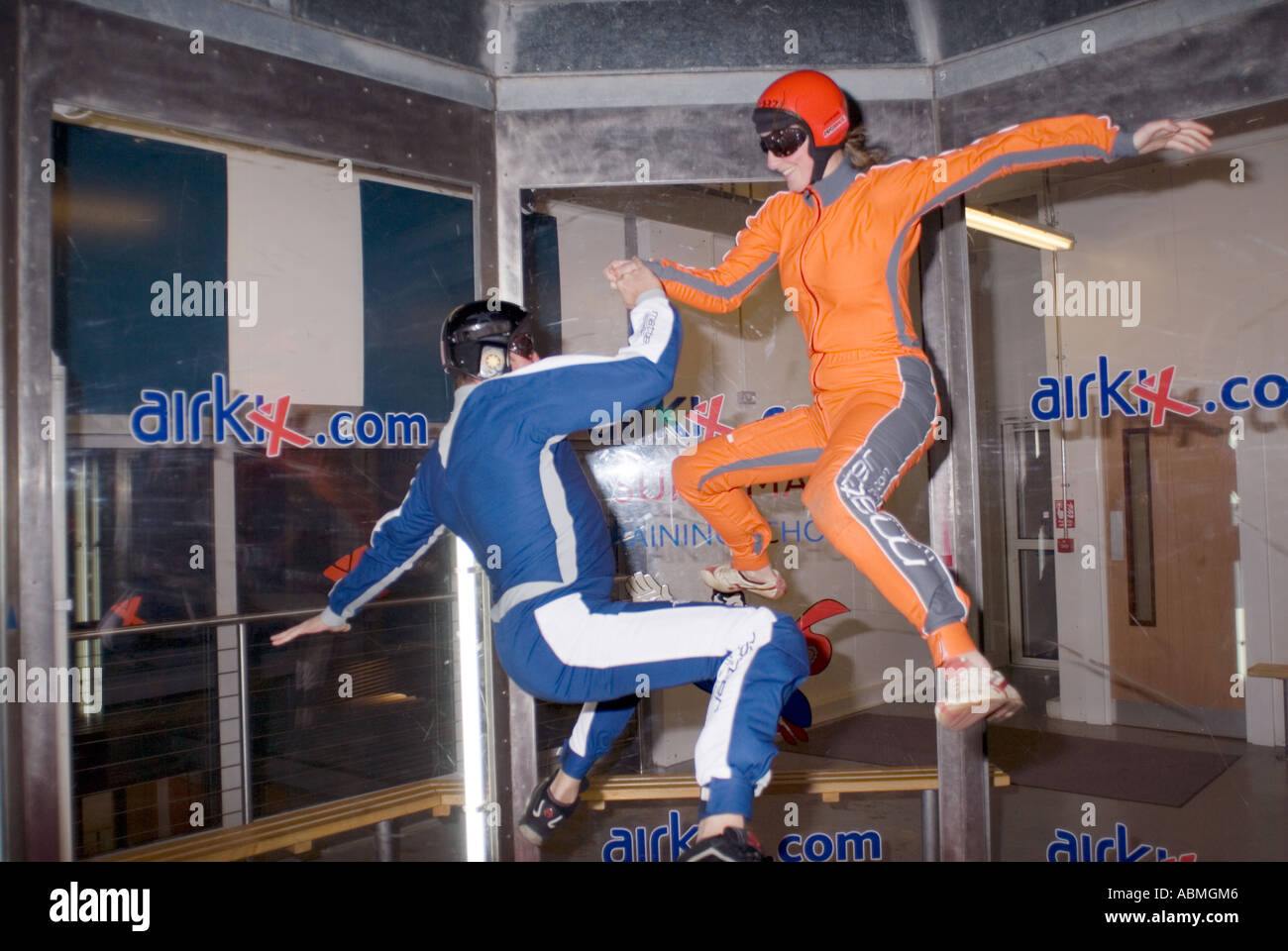 2 skydivers practising inside AirKix at the Xscape building in Central Milton Keynes, the Centre MK - Stock Image