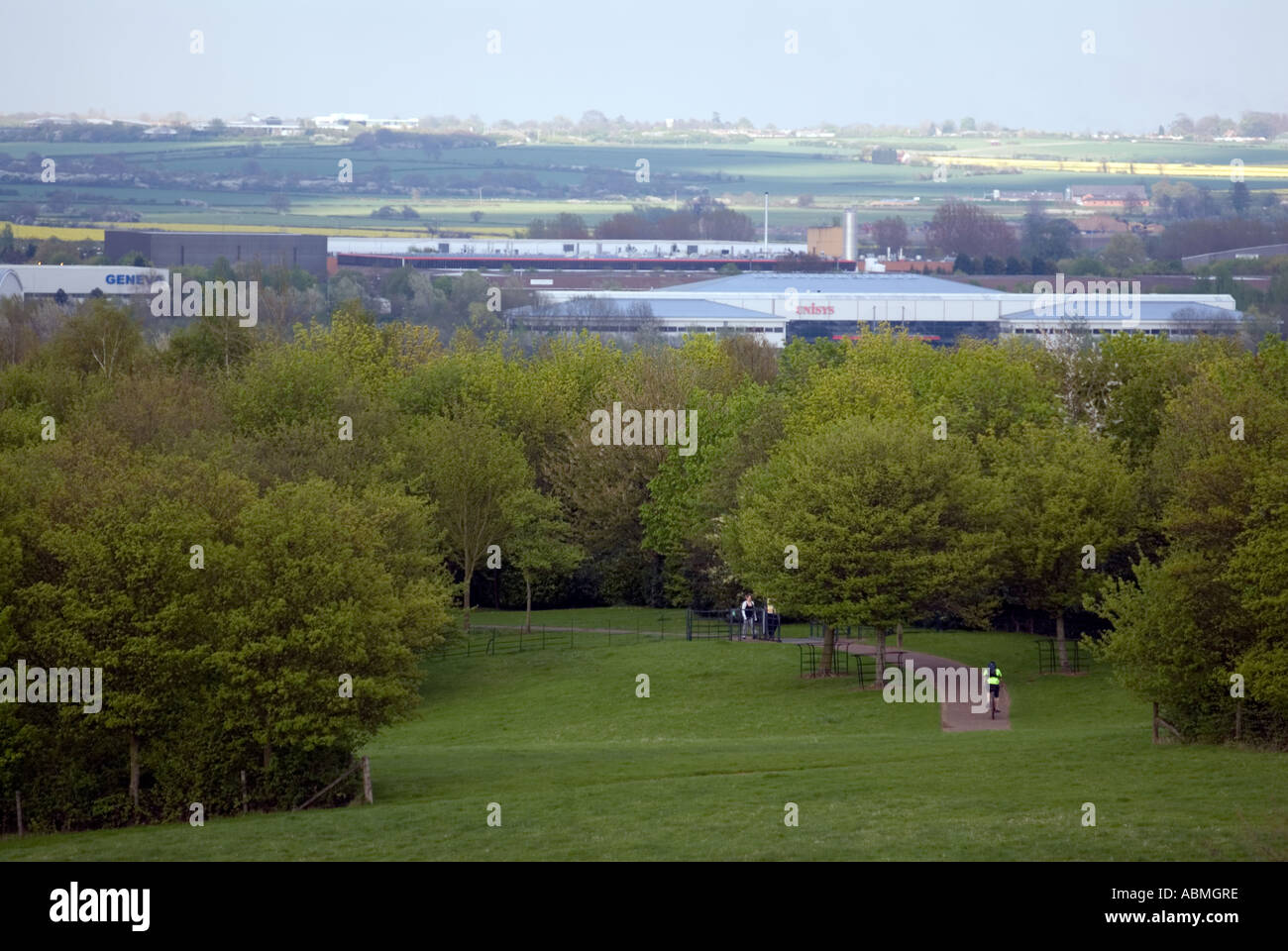 Campbell Park central Milton Keynes MK looking towards Willen Lake bikers walkers runners industrial units - Stock Image