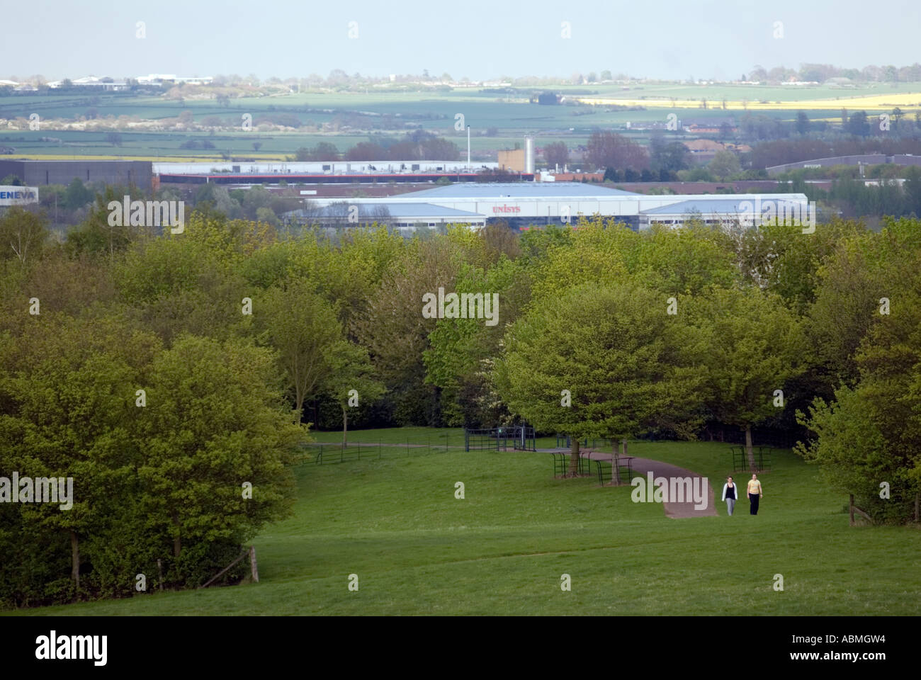 people walking in Campbell park in Milton Keynes MK city of - Stock Image
