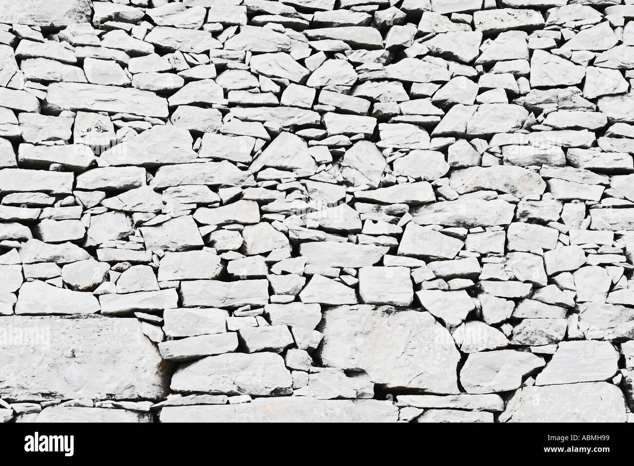 Ancient Stone Wall Near Chapel Tuscany Italy - Stock Image