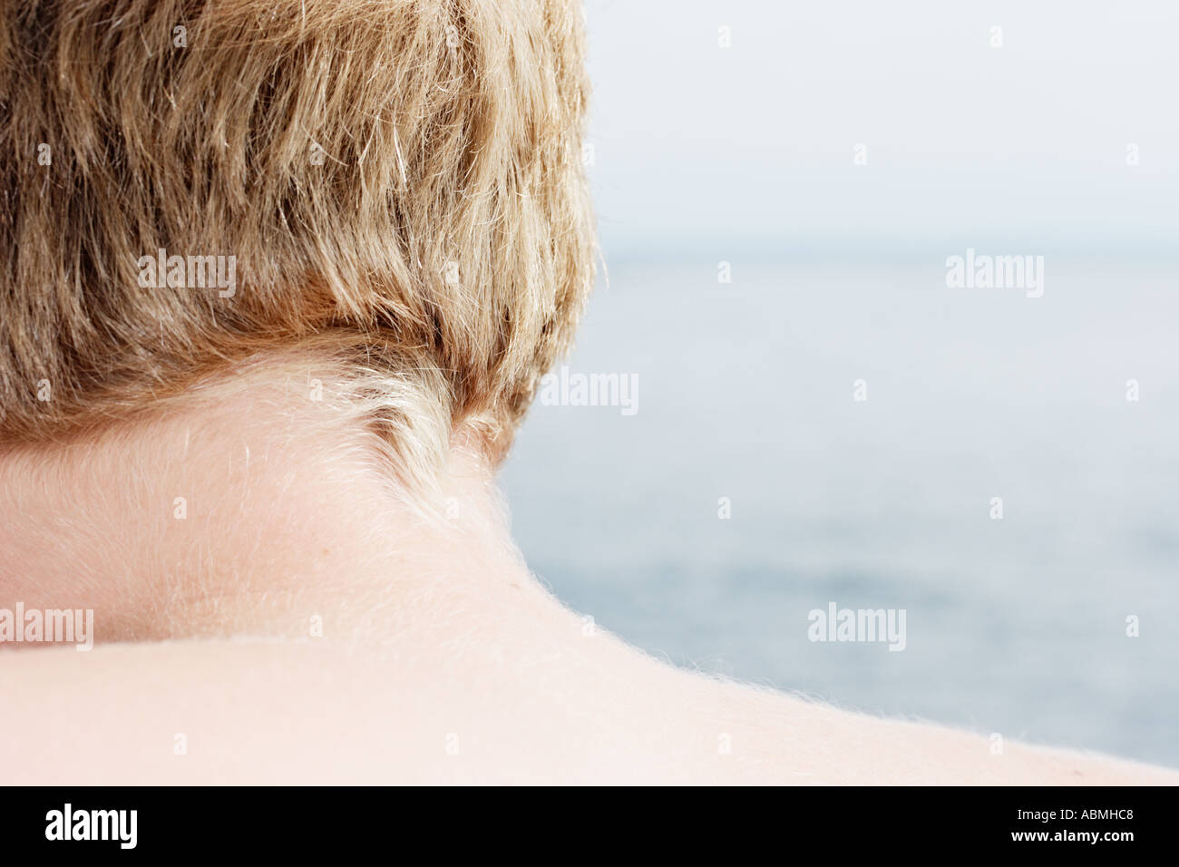 Rear View Of Young Boy And Sea - Stock Image