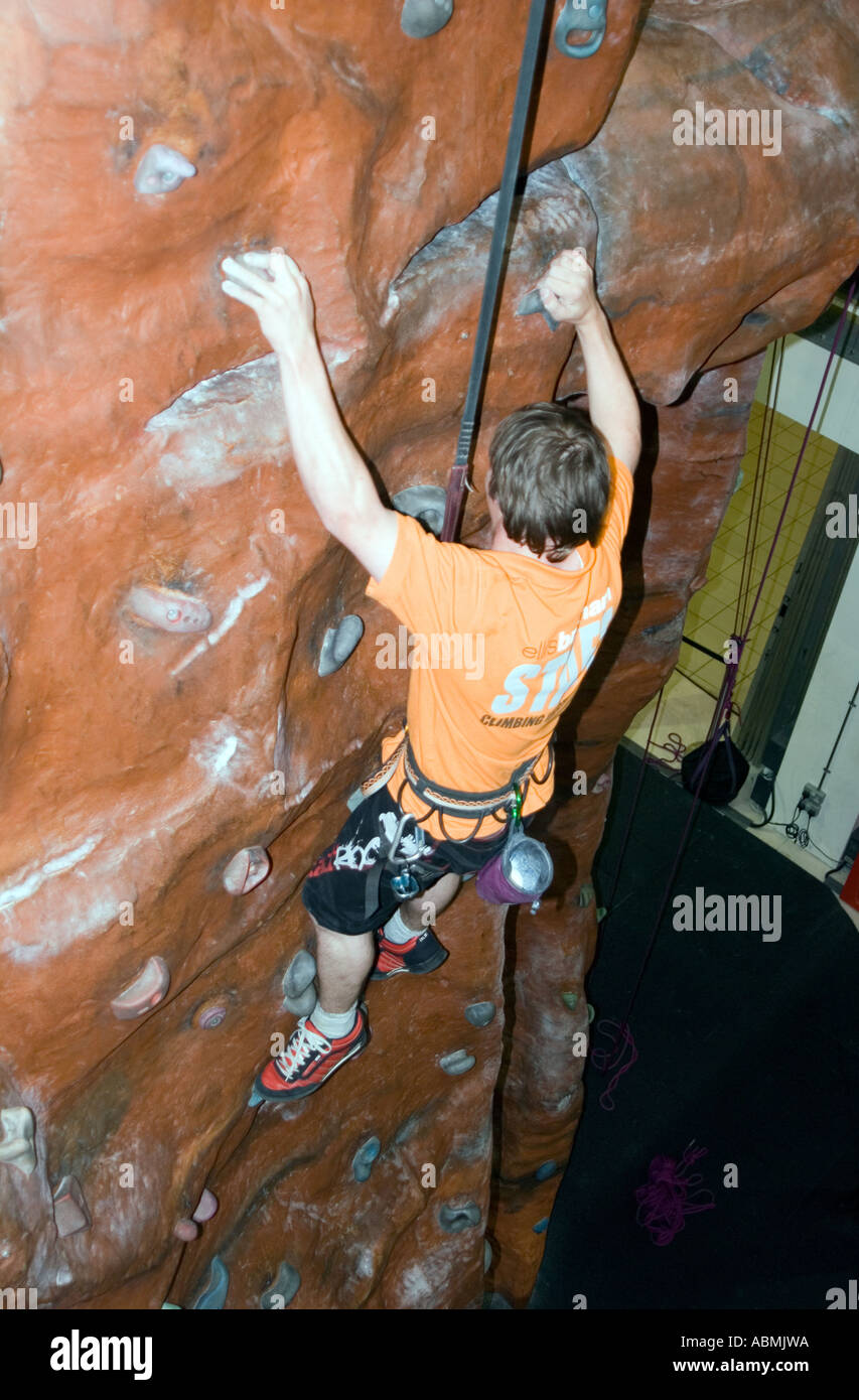 Indoor rock climbing in central Milton Keynes - Stock Image