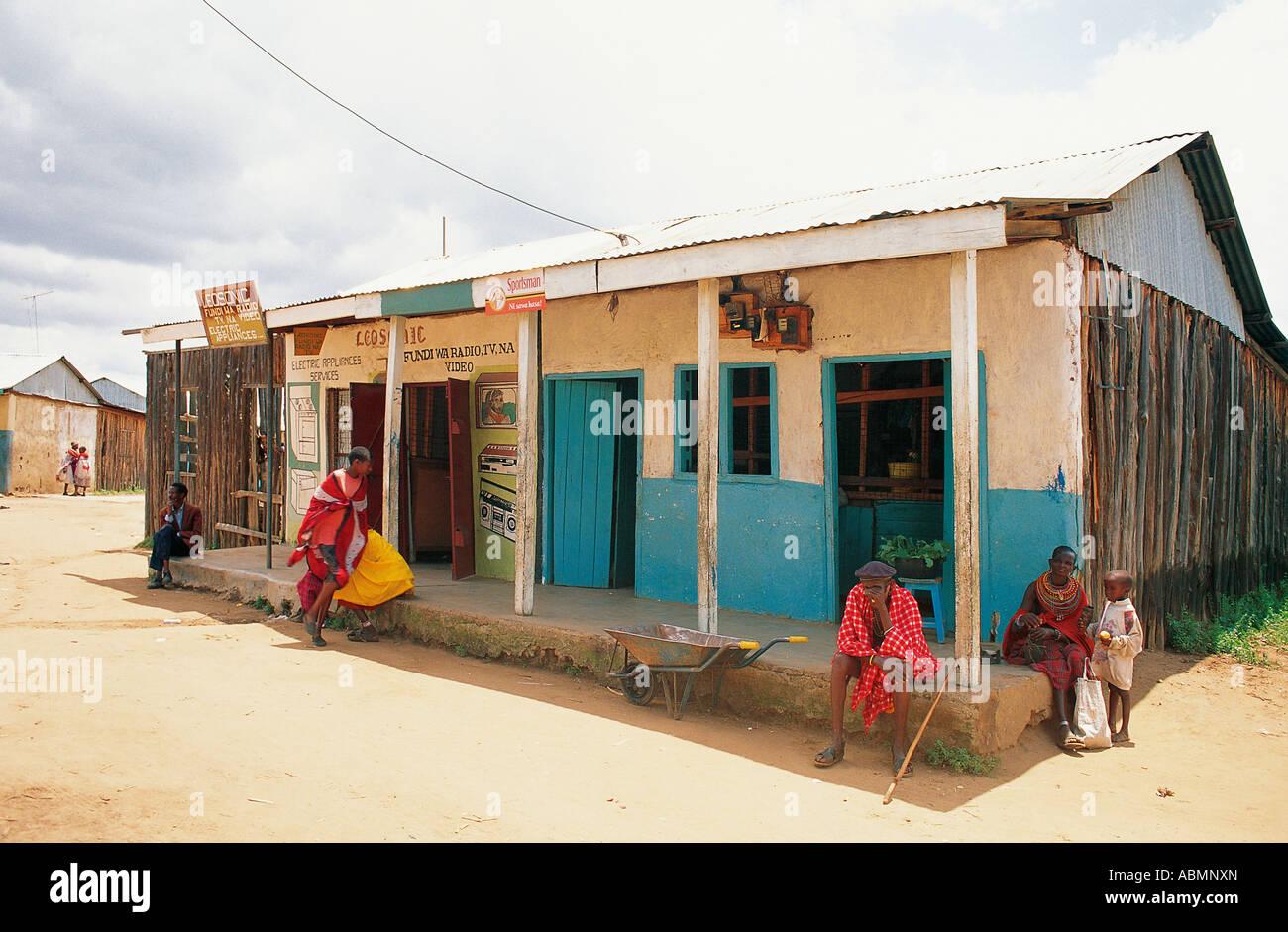 Samburu people near shops in Maralal venue of annual camel derby Northern Kenya - Stock Image