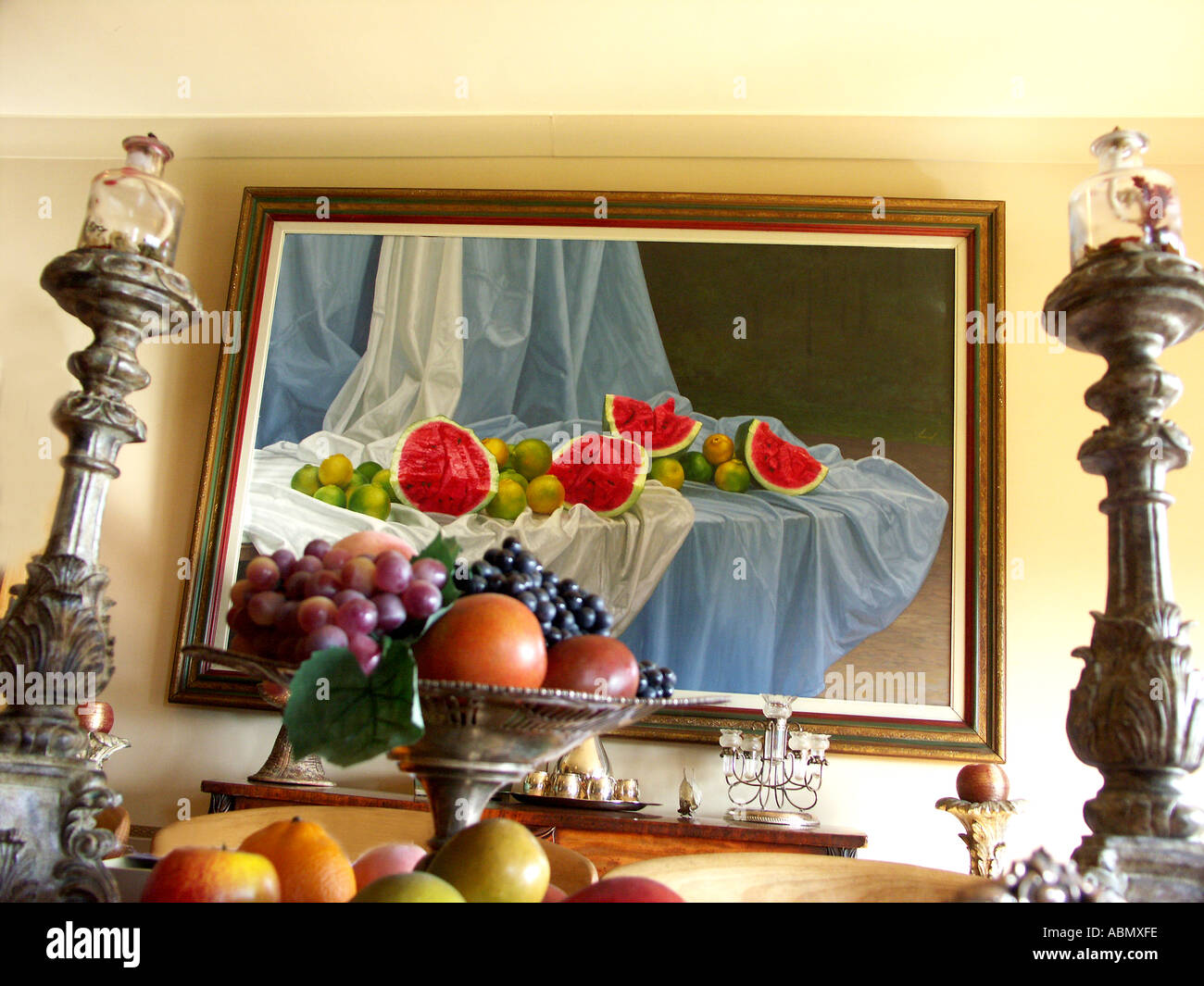 opulant dining room plentiful fruit lavish decor at a private english country estate worcestershire great britian Stock Photo