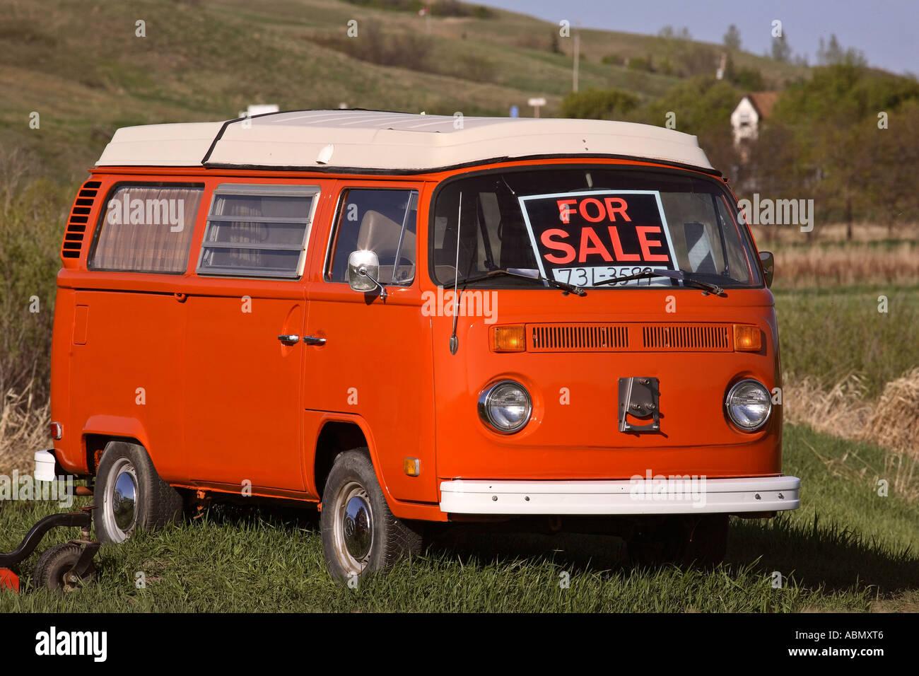 A Volkswagen Van For Sale In Scenic Saskatchewan Canada Stock Photo