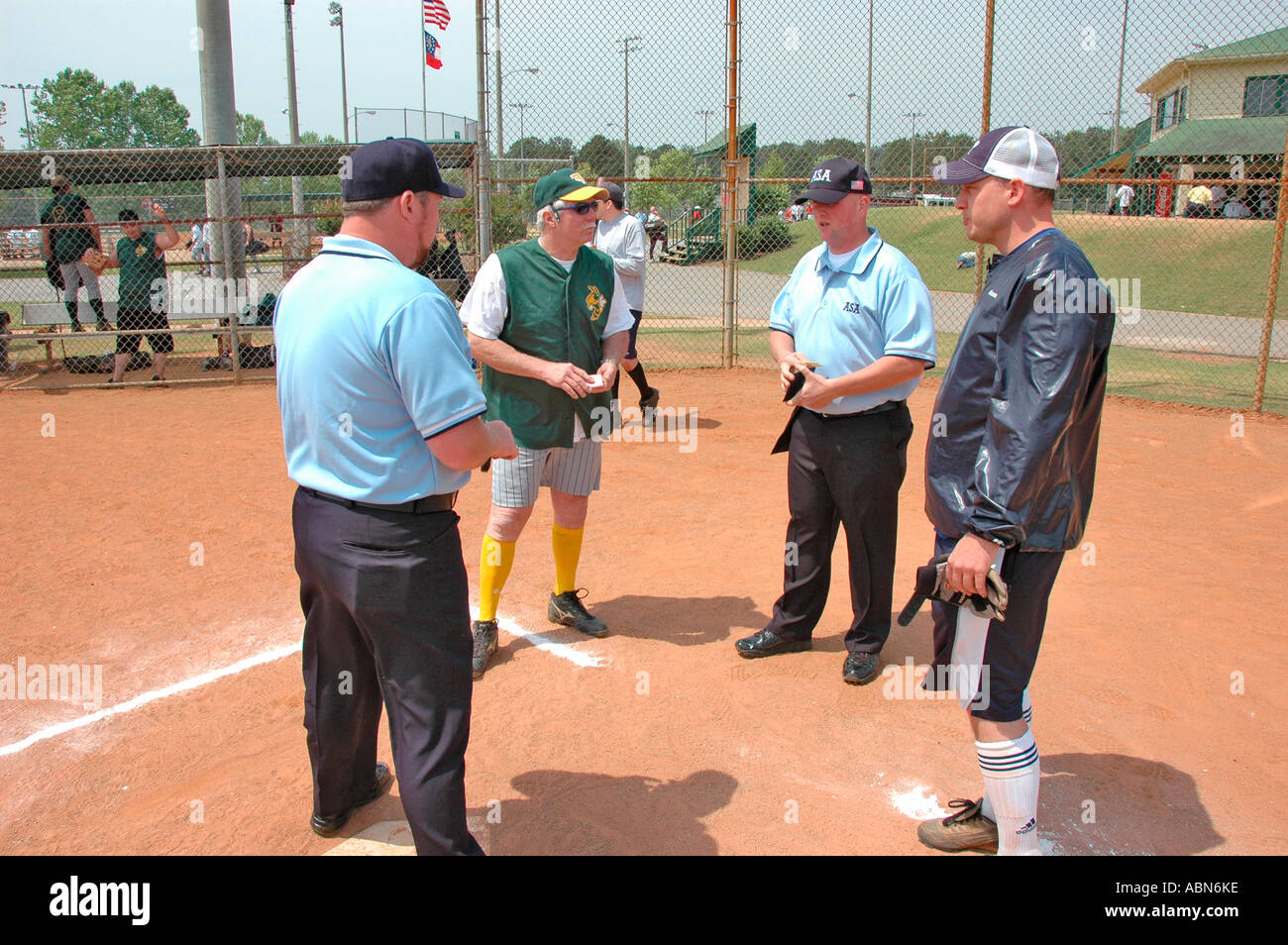 softball umpires for ASA in the US during games and in preganme