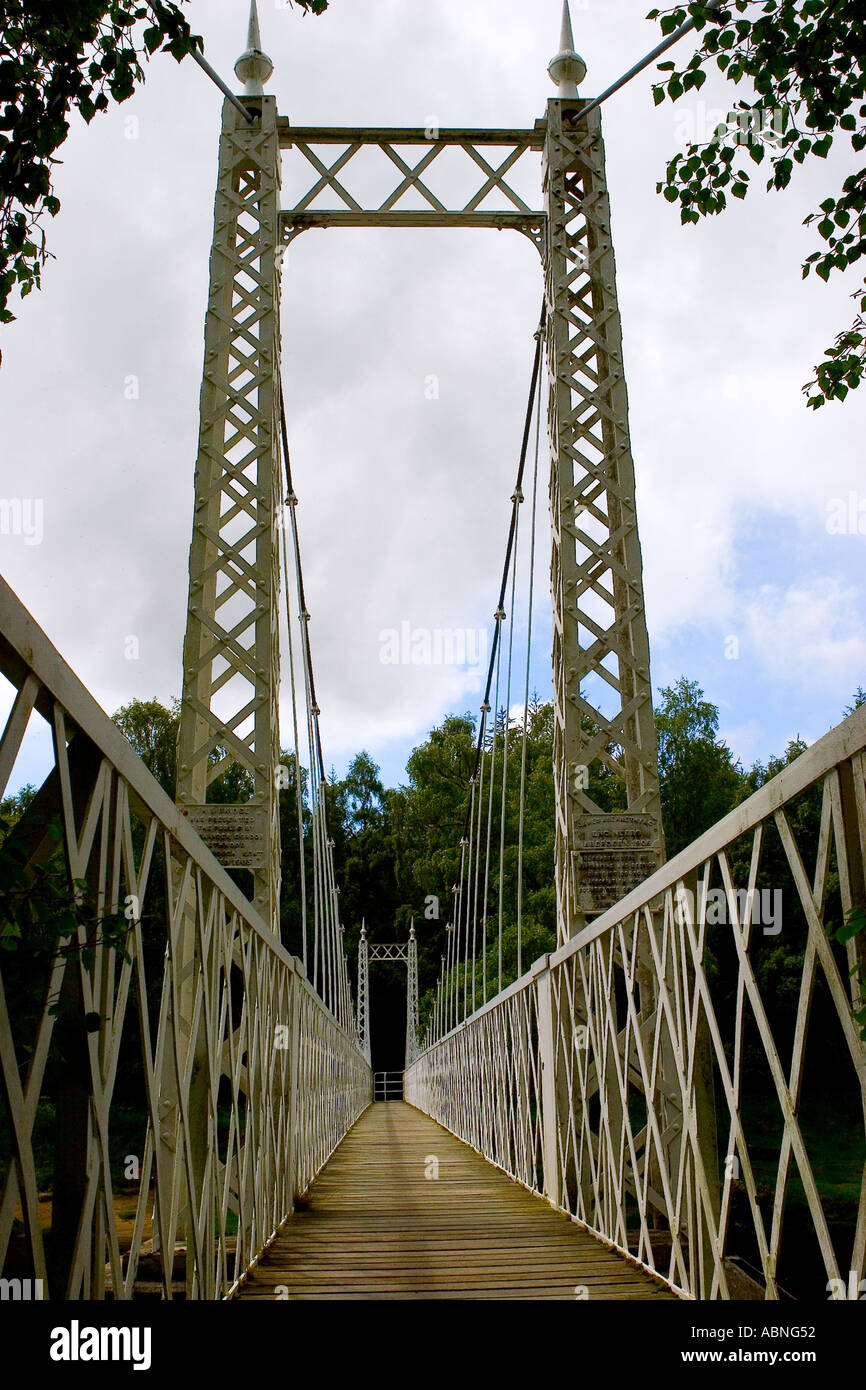 Iron Suspension Bridge Cambus O' may, Royal Deeside, Aberdeenshire - Stock Image