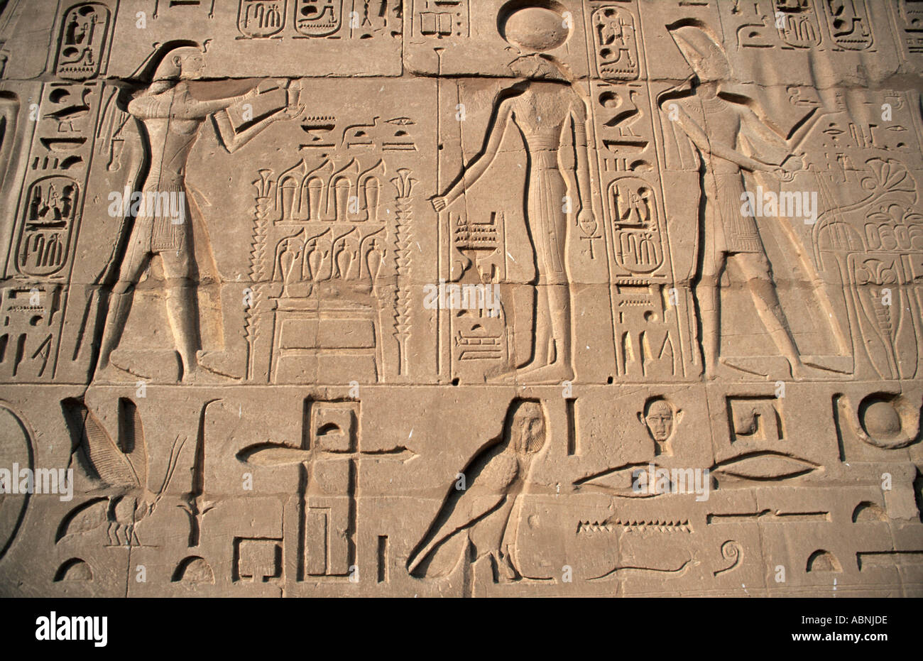 Detail of hieroglyphic carvings in bas relief on walls at temple of Karnak beside the sacred lake Upper Egypt - Stock Image