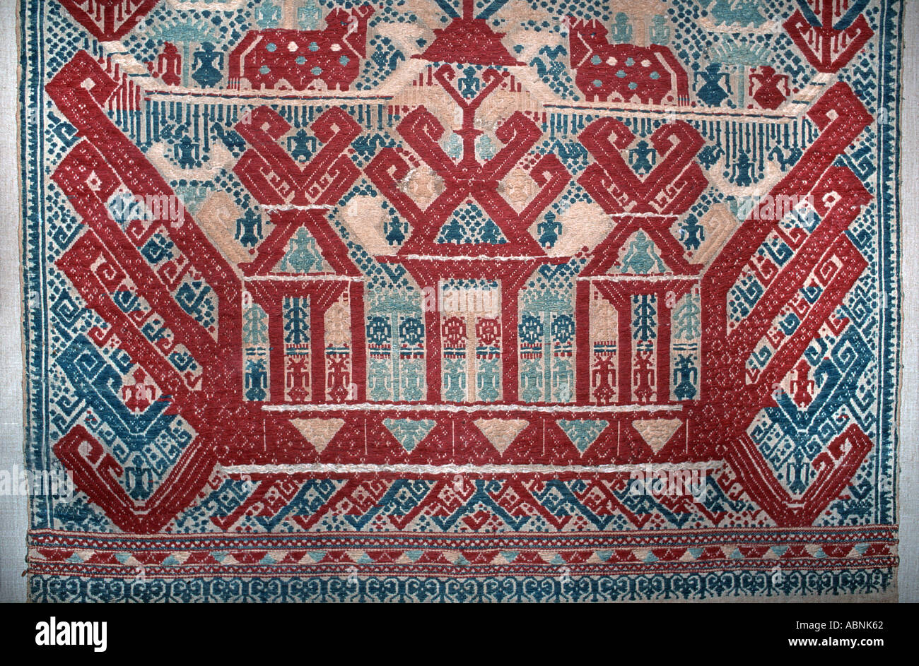 Detail of a Sumatran Ship Cloth also known as a Palepai Brocaded textile with a ceremonial function Lampung Sumatra - Stock Image