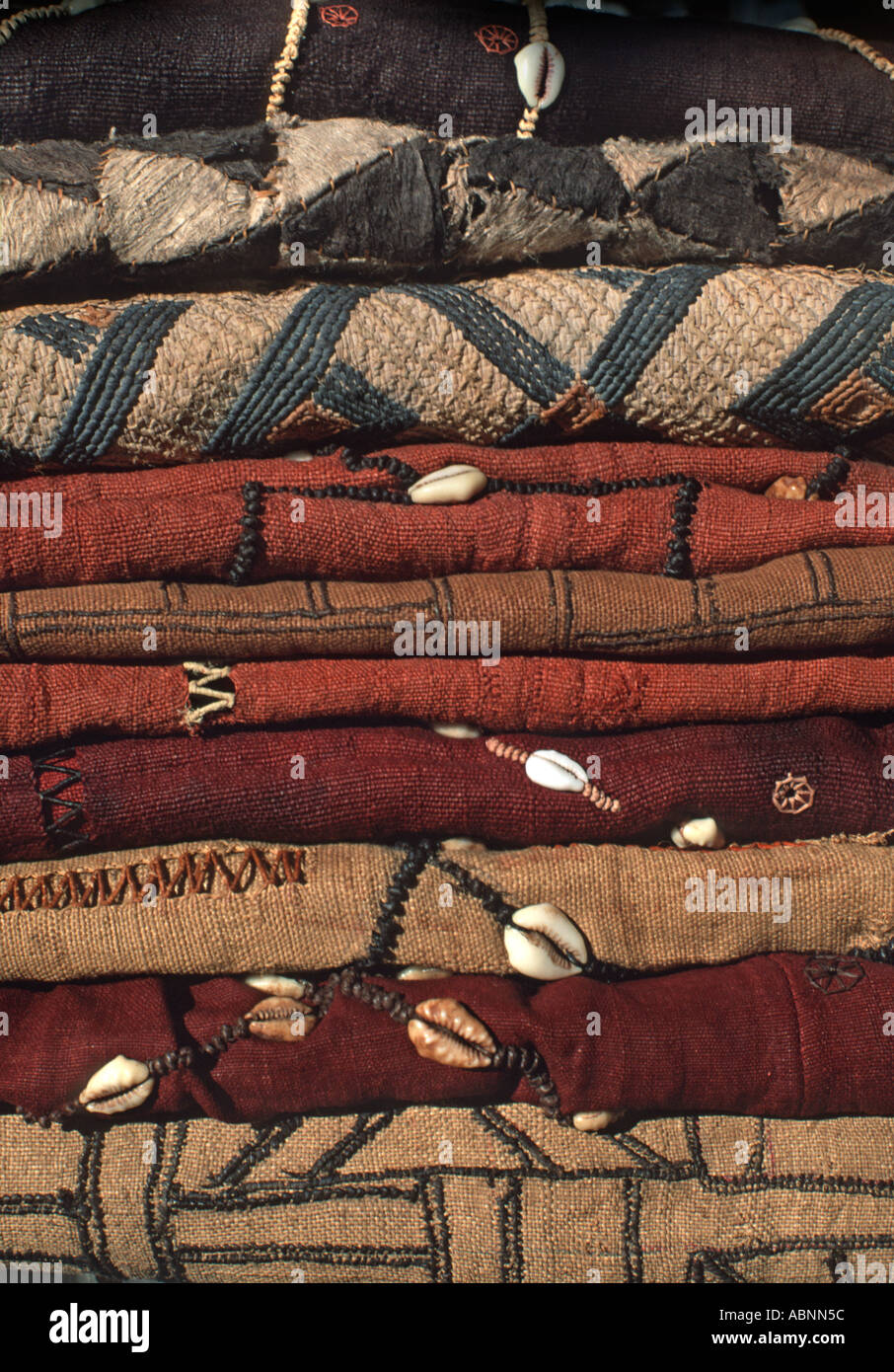 A stack of woven raffia textile from The Democratic Republic of Congo DRC formerly known as Zaire From the Kuba Stock Photo