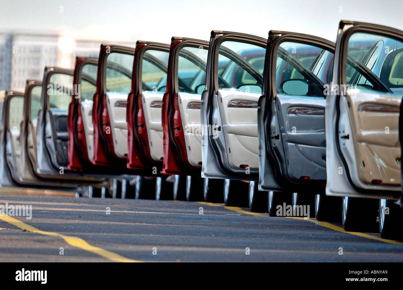 Left hand drive export only S type jaguars awaiting their drivers at Southampton docks - Stock Photo