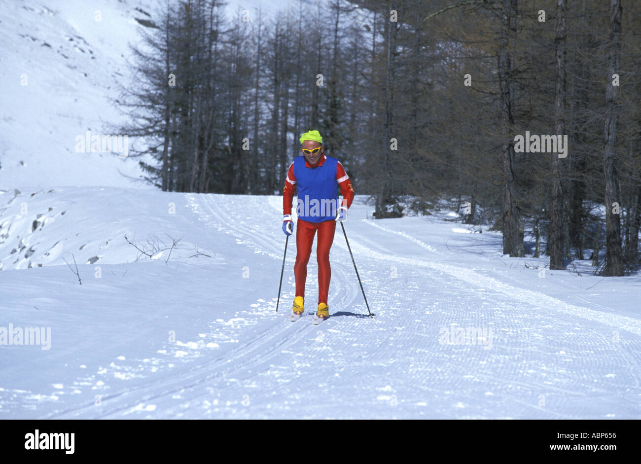 Abp 656 skiing in the gran paradiso national park stock photos