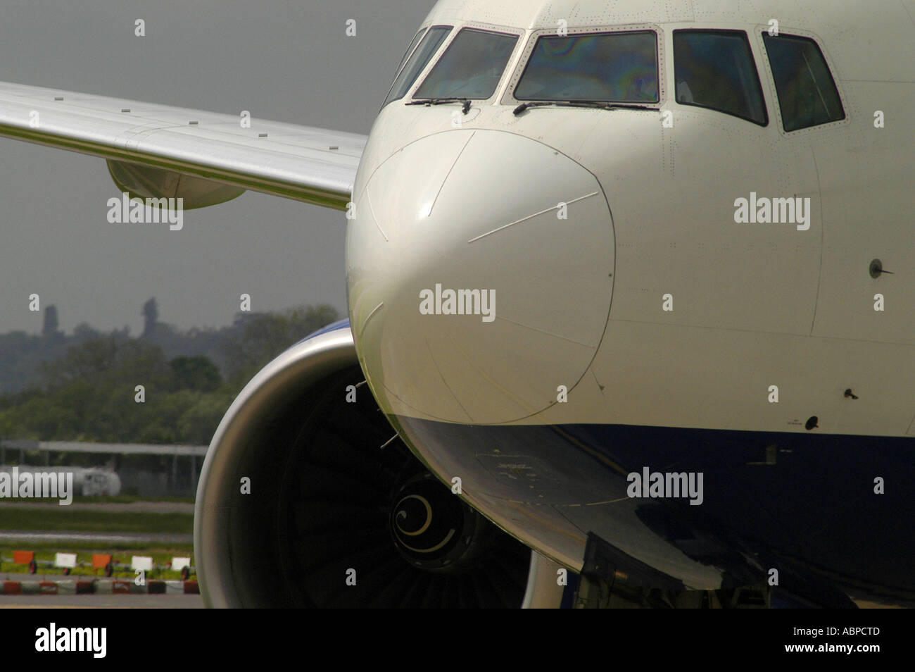A British Airways airliner taxiing on the runway at Heathrow Airport London Picture by Andrew Hasson May 18th 2006 - Stock Image