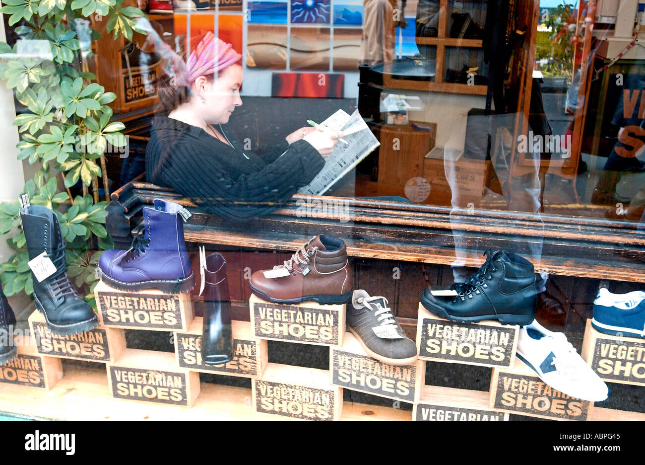 f774df8eab4310 Animal friendly shoe shop Vegetarian Shoes in Brighton where leather is  banned - Stock Image