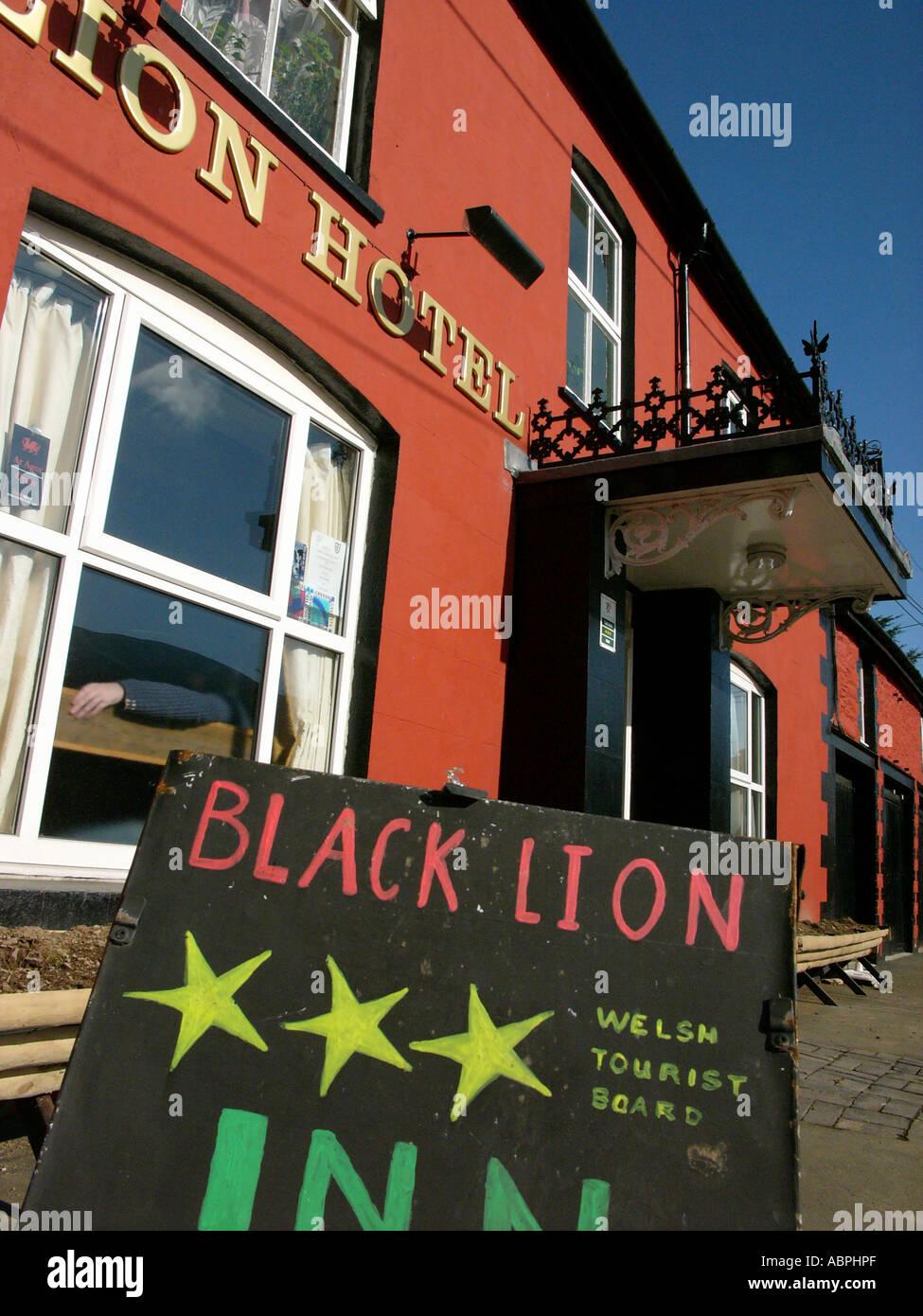 Exterior of The Black Lion Inn  pub, Pontrhydfendigaid, Ceredigion West Wales UK - Stock Image