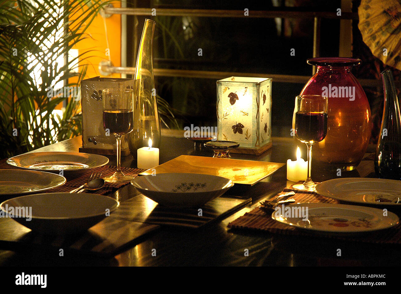 glasses table setting. SUB79060 Red Wine In Glasses Candles Table Setting For Cozy Intimate Romantic Candle Light Dinner Mellow Mood Shot L