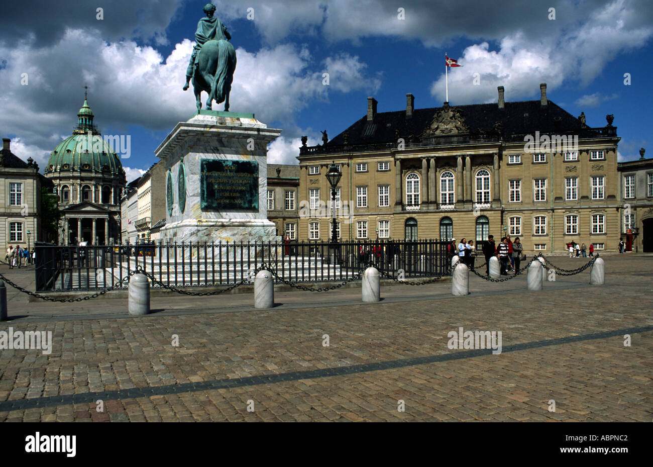 Christian VIII Palace in Amalienborg Palace in Copenhagen Denmark residence of Queen Margrethe with statue of Frederik Stock Photo