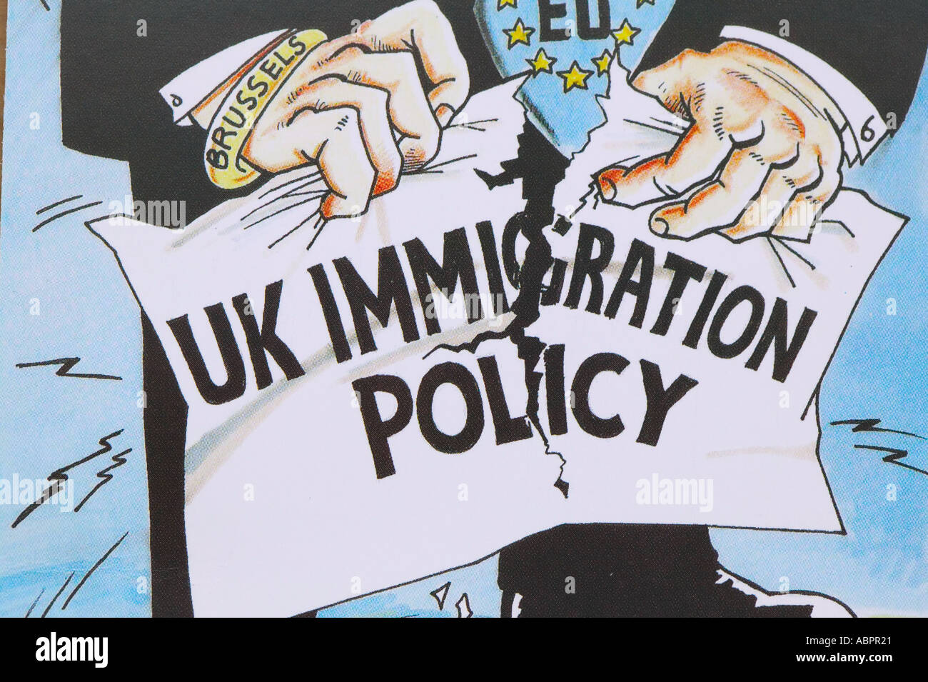 UK Independance Party poster publicising immigration policy - Stock Image