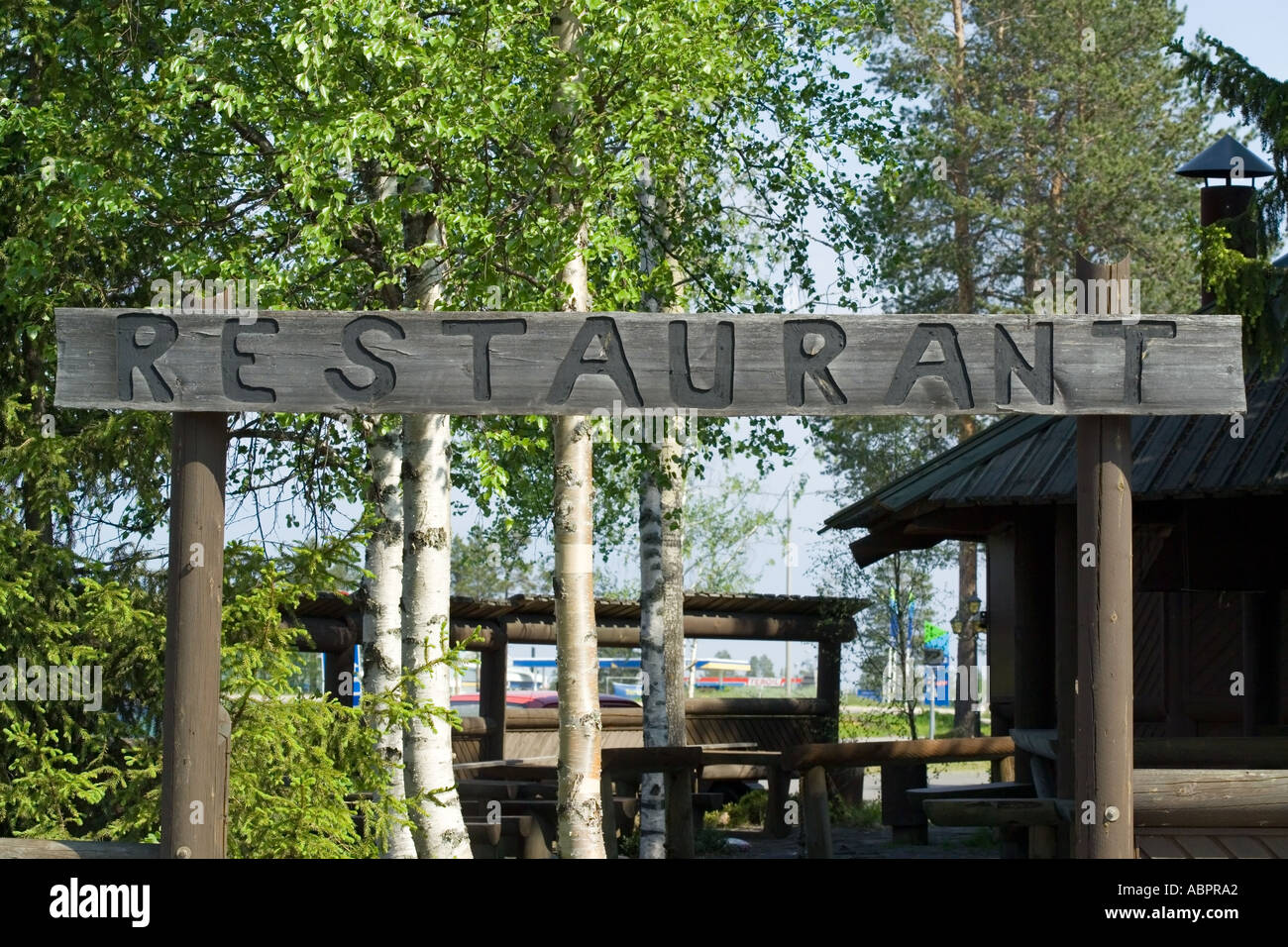 restaurant sign at the arctic circle finland stock photo 4226977