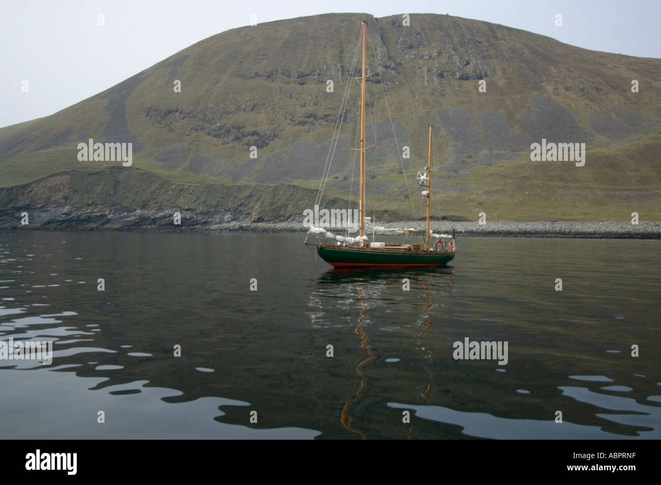 Harbour with the boat, Hirta, St Kilda, Western Isles, Scotland, UK, Europe - Stock Image