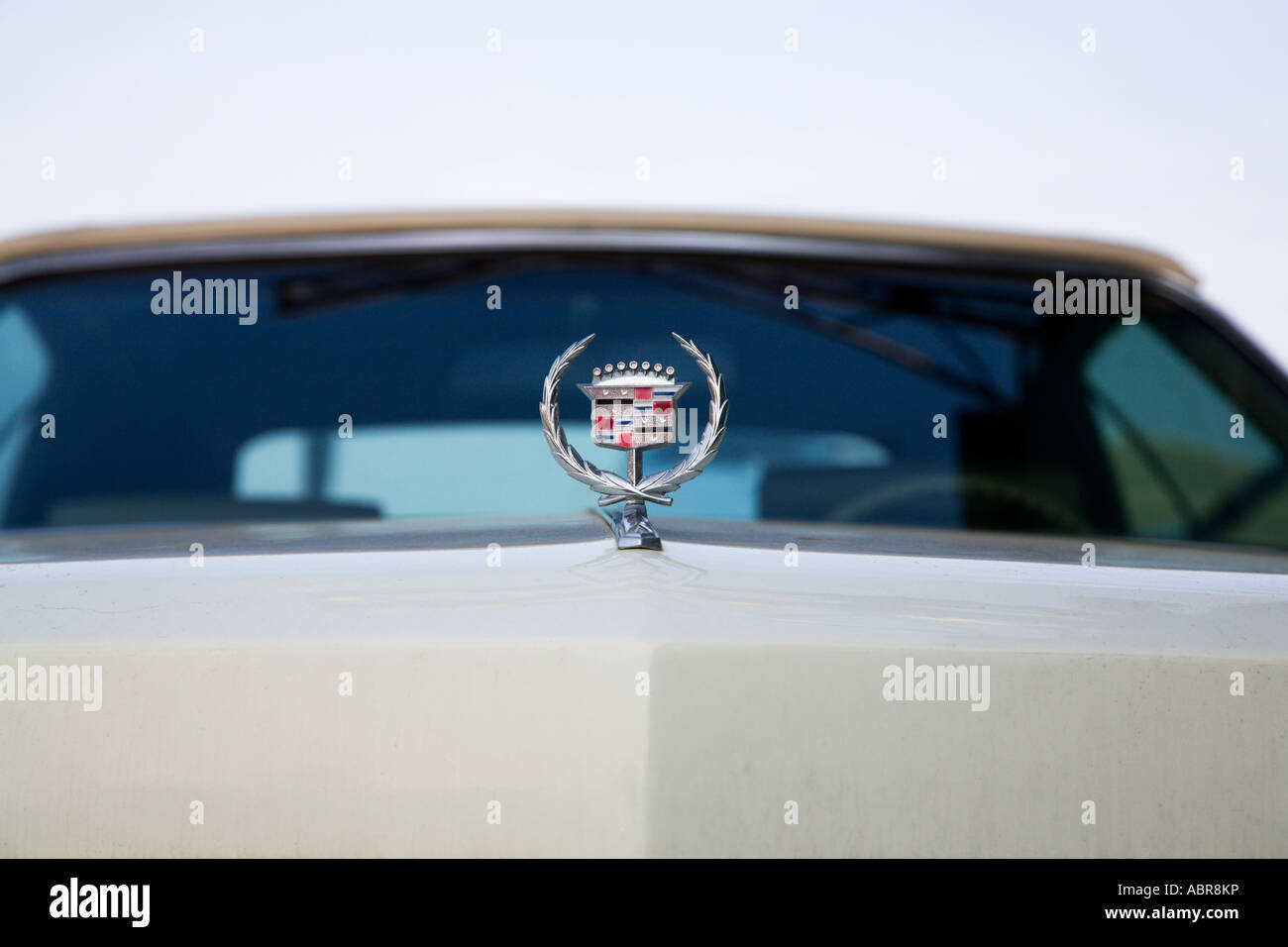 Front of old American motorcar. Eldorado. Fuel injected automobile. Detail and badge. Automobile. USA. - Stock Image