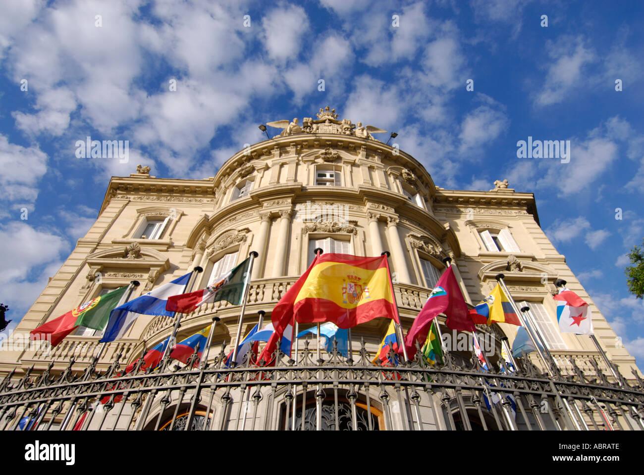 Casa De América Madrid Spain With Flags Of The Americas