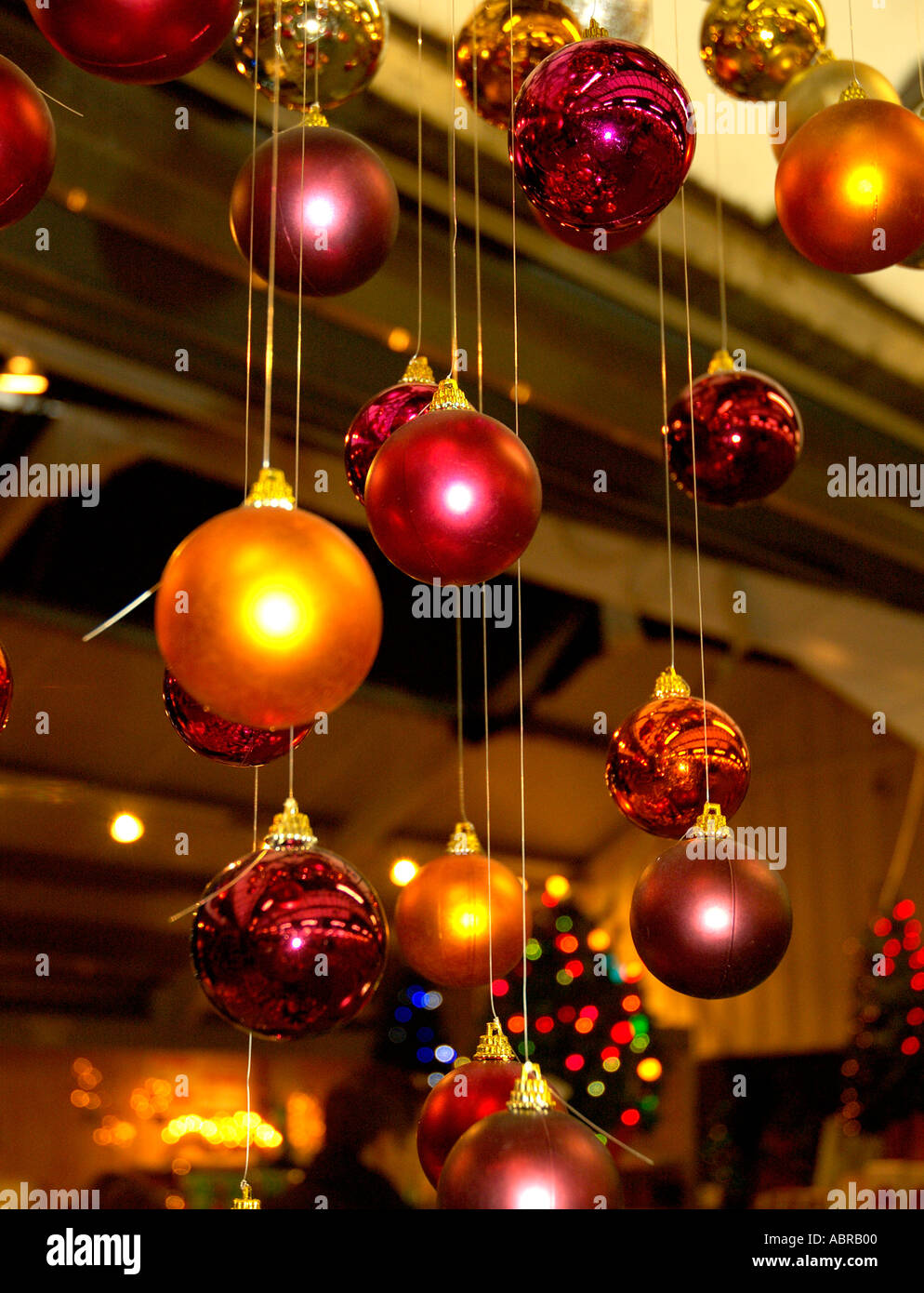 Hanging Christmas Decorations Ceiling.Multiple Coloured Glass Baubles Christmas Decorations