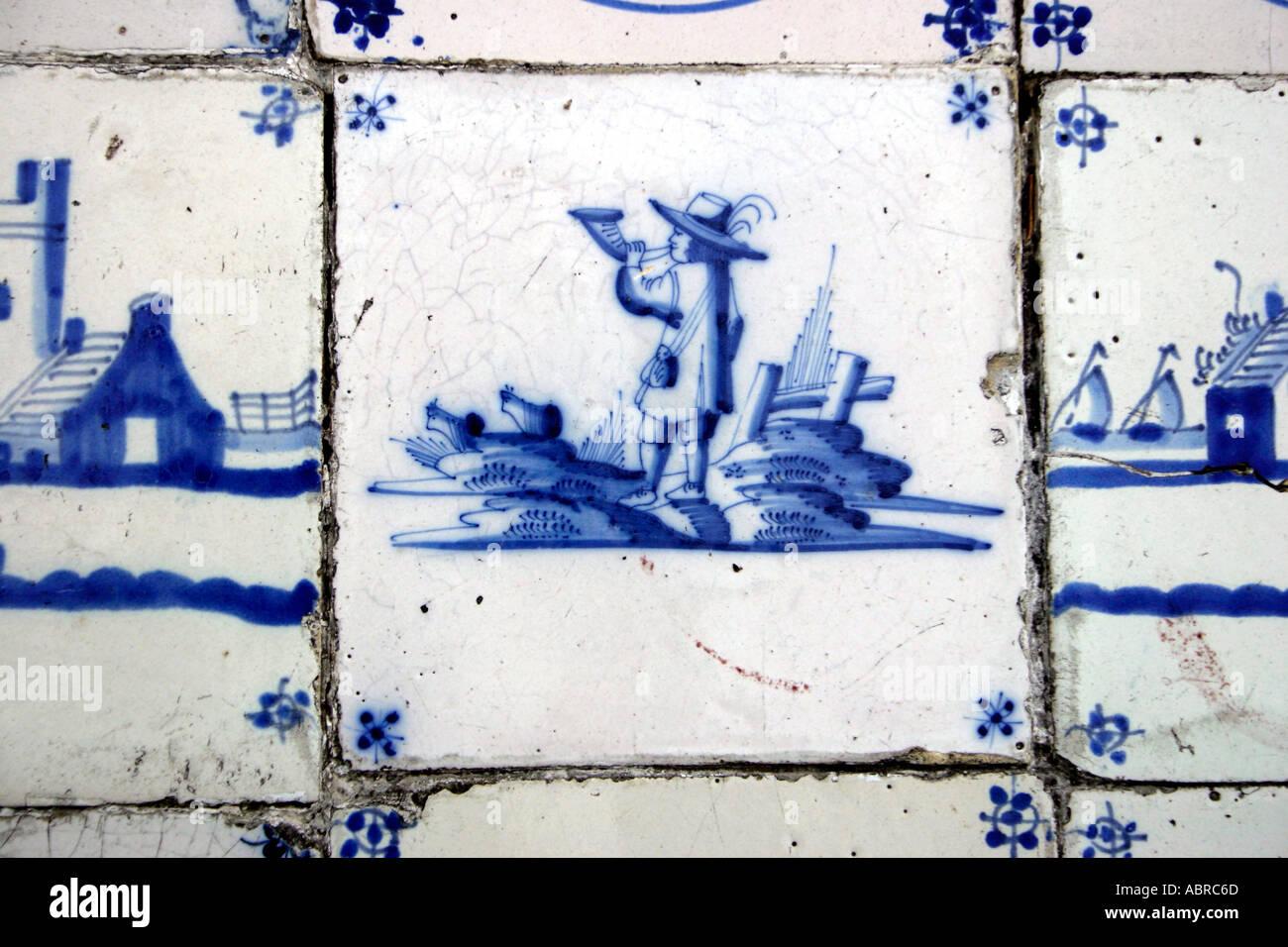 Eighteenth Nineteenth Century Delft Tile Hand Painted in Cobalt Blue Bugler Motif - Stock Image