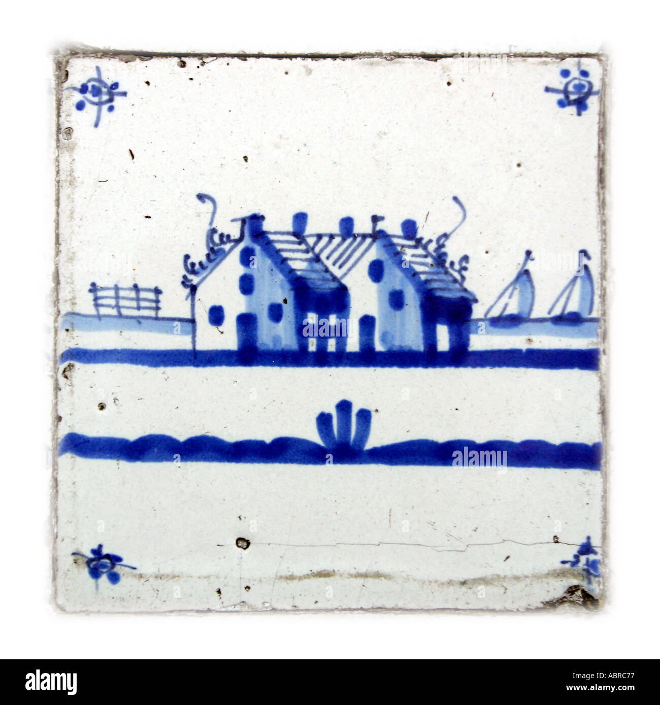 Eighteenth Nineteenth Century Delft Tile Hand Painted in Cobalt Blue Farm and Yatch Motif - Stock Image
